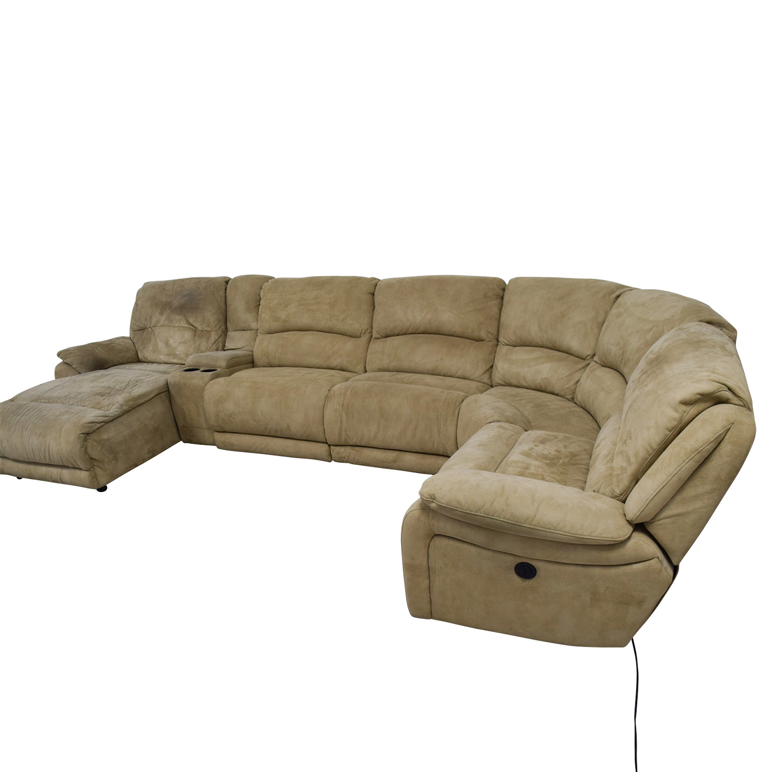 Groovy 68 Off Raymour Flanigan Raymour Flanigan Cindy Crawford Mackenzie Microfiber Power Reclining Sectional Sofas Unemploymentrelief Wooden Chair Designs For Living Room Unemploymentrelieforg