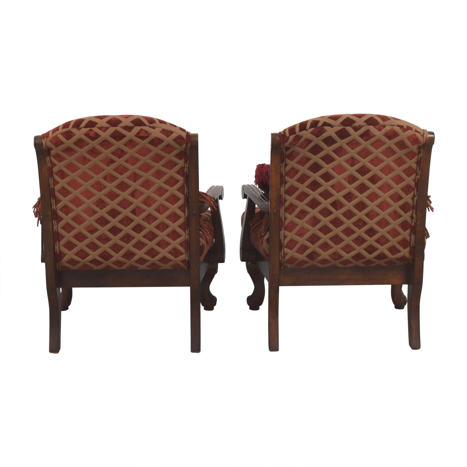 buy Burgundy and Gold Accent Chairs with Toss Pillows