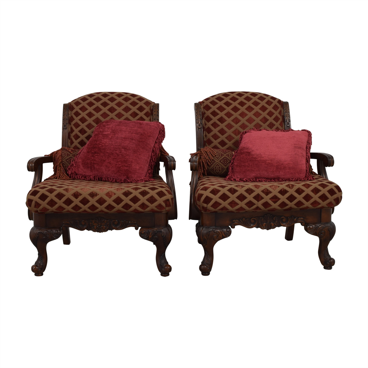 shop Burgundy and Gold Accent Chairs with Toss Pillows Sofas
