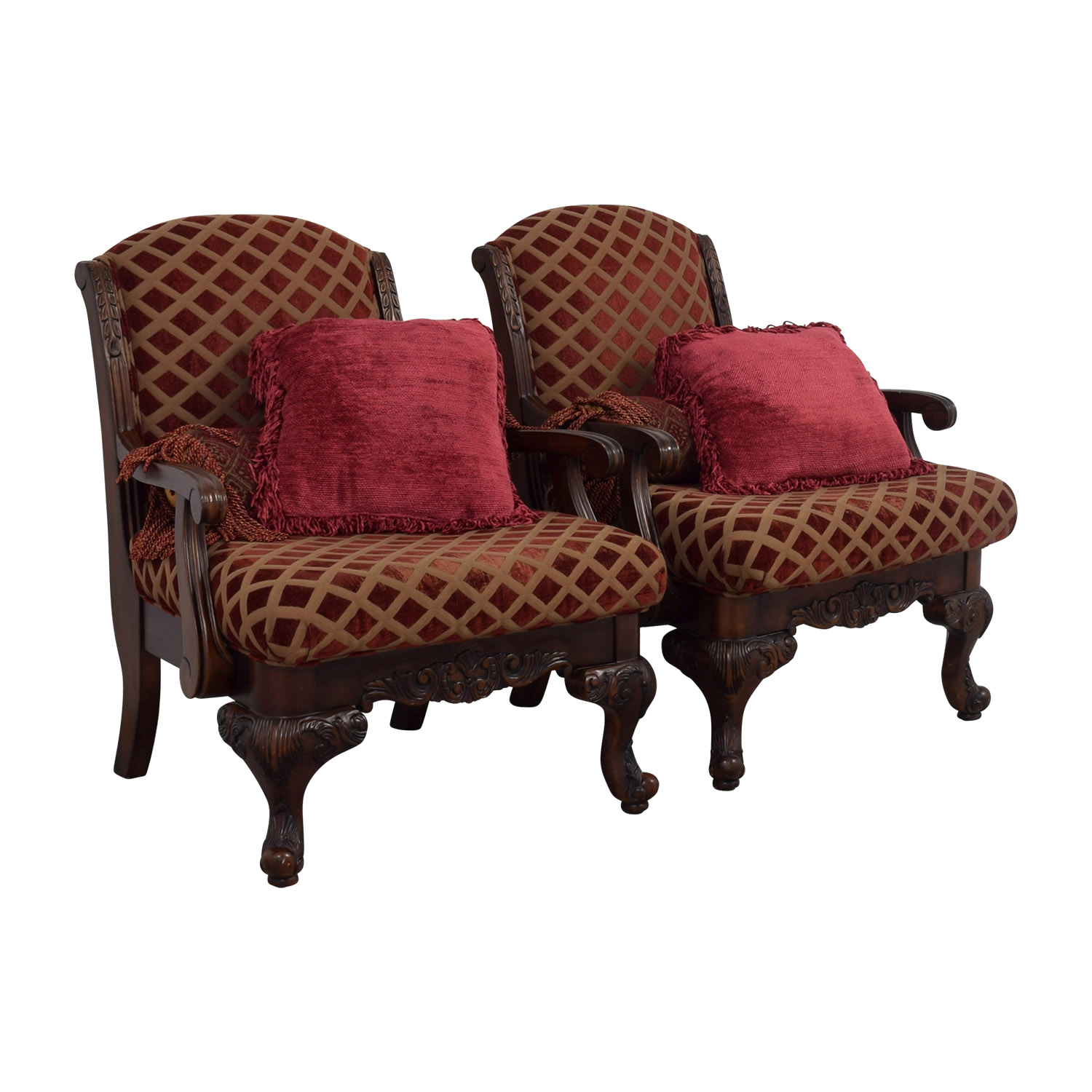 ... Burgundy And Gold Accent Chairs With Toss Pillows Dimensions ...