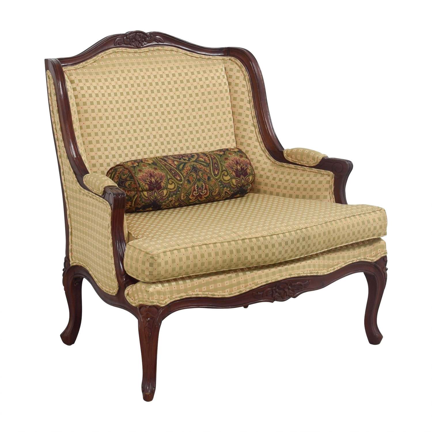 Gold and Red Wide Accent Chair