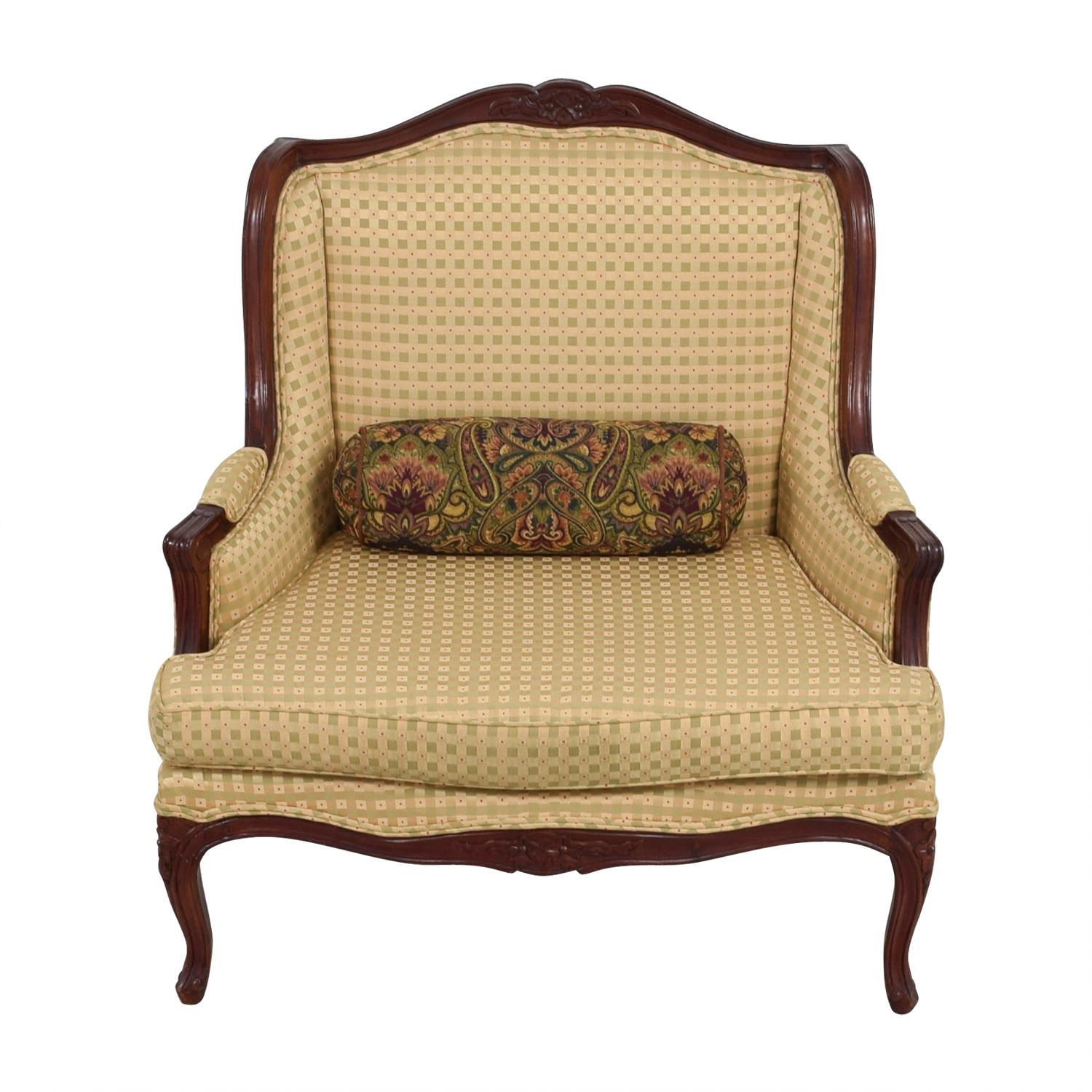 Gold and Red Wide Accent Chair / Accent Chairs