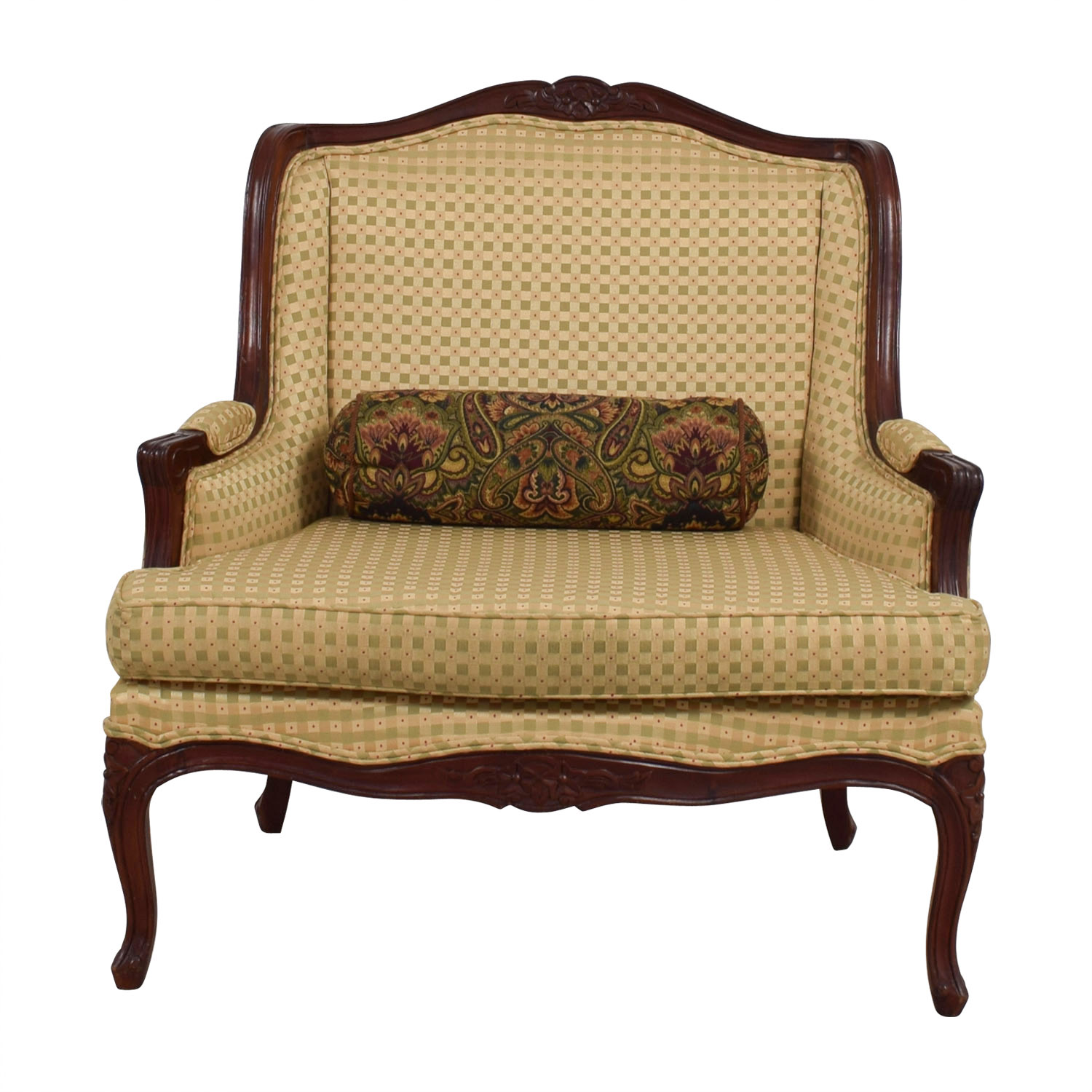 Gold and Red Wide Accent Chair on sale