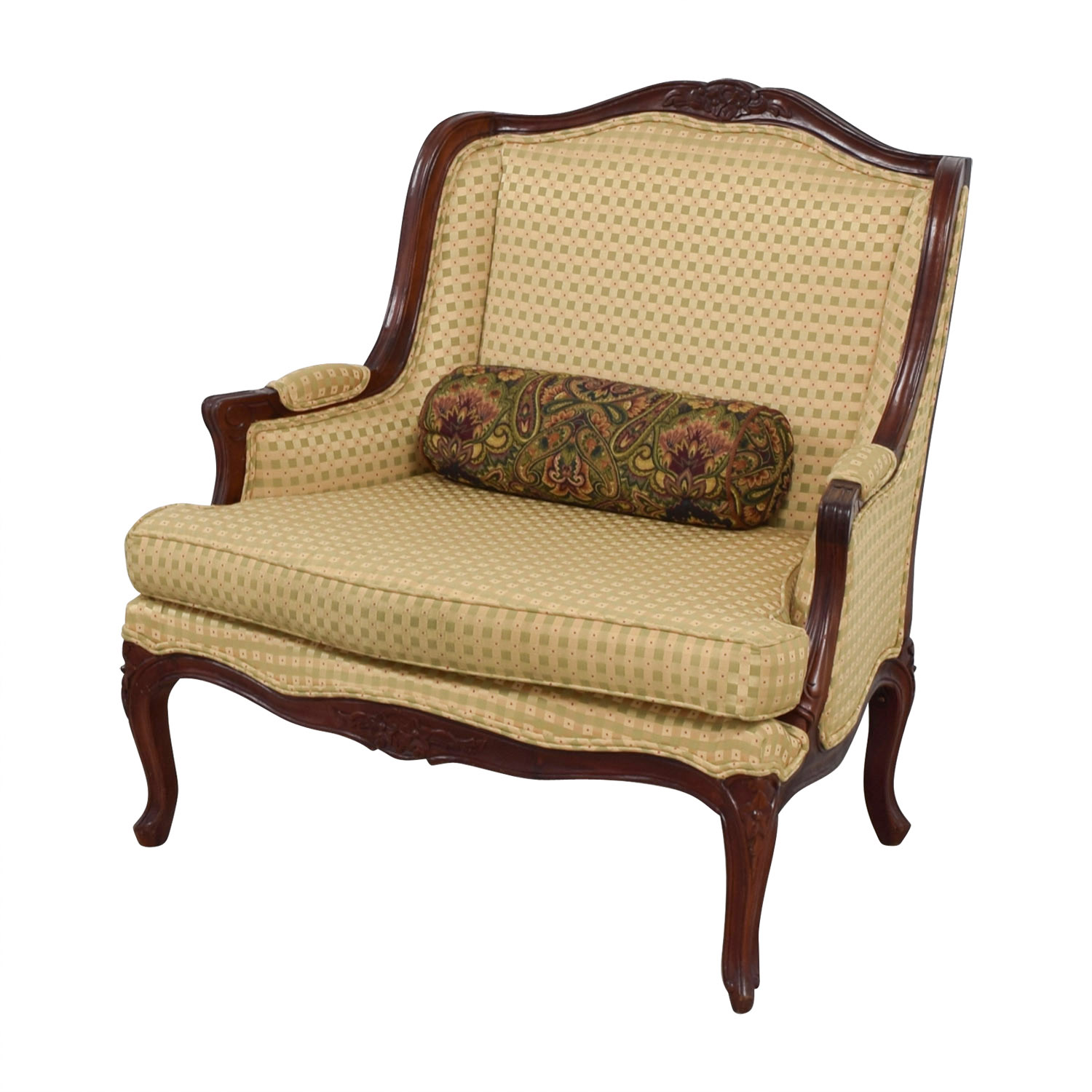 shop Gold and Red Wide Accent Chair