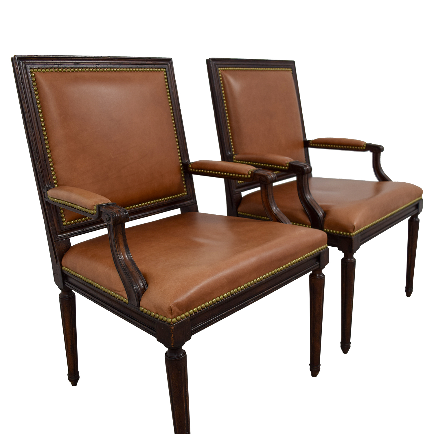 Henredon Henredon Brown Leather Nailhead Accent Chairs second hand