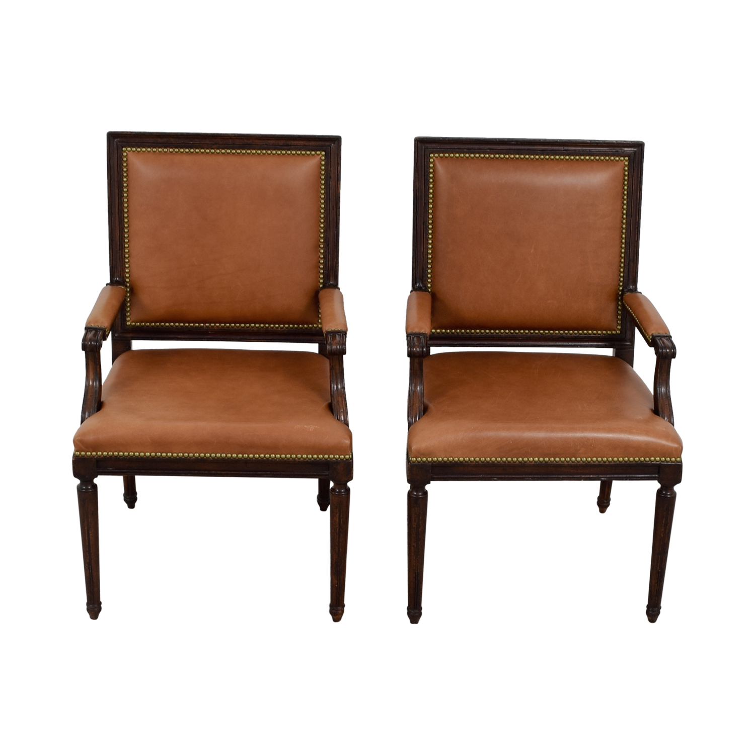 Henredon Brown Leather Nailhead Accent Chairs / Chairs