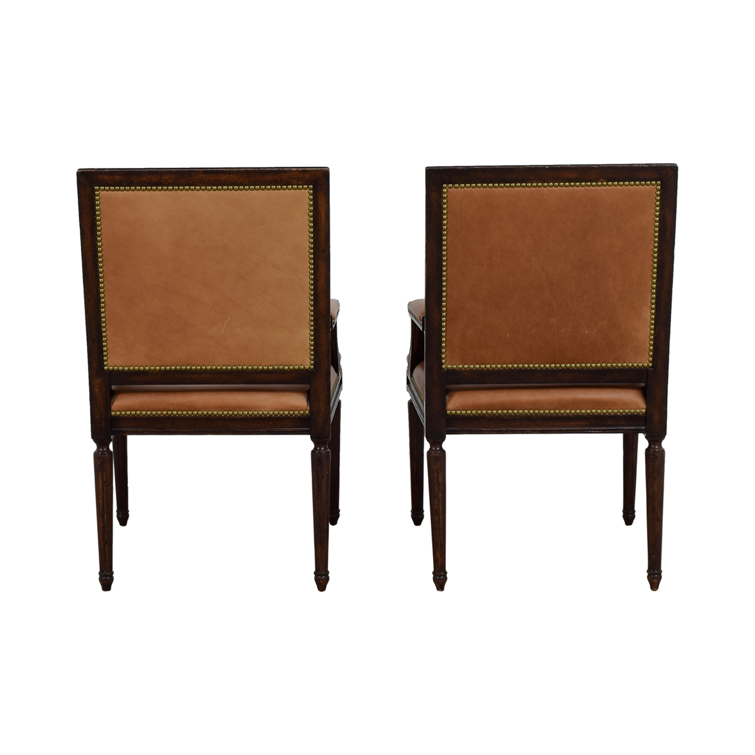 Henredon Henredon Brown Leather Nailhead Accent Chairs Accent Chairs
