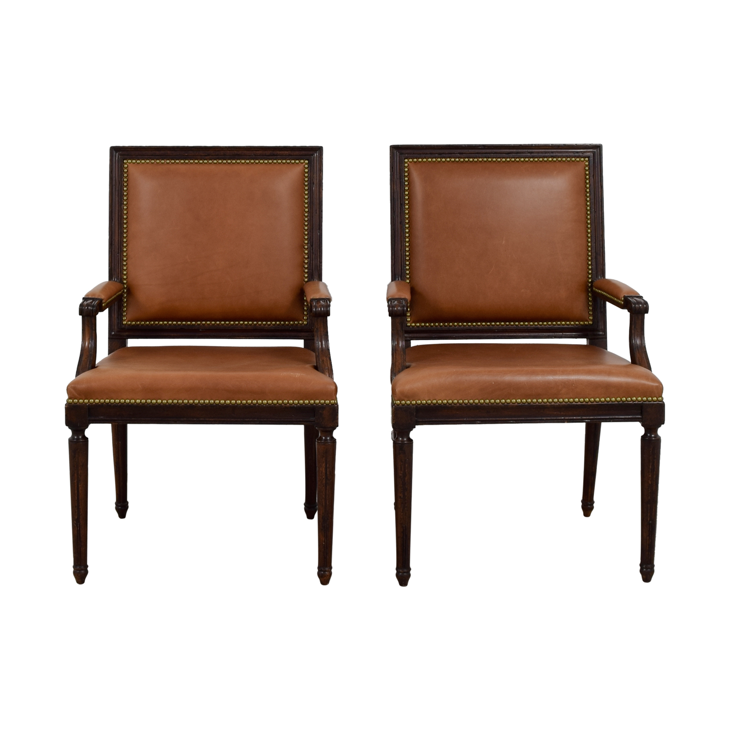 shop Henredon Brown Leather Nailhead Accent Chairs Henredon Sofas