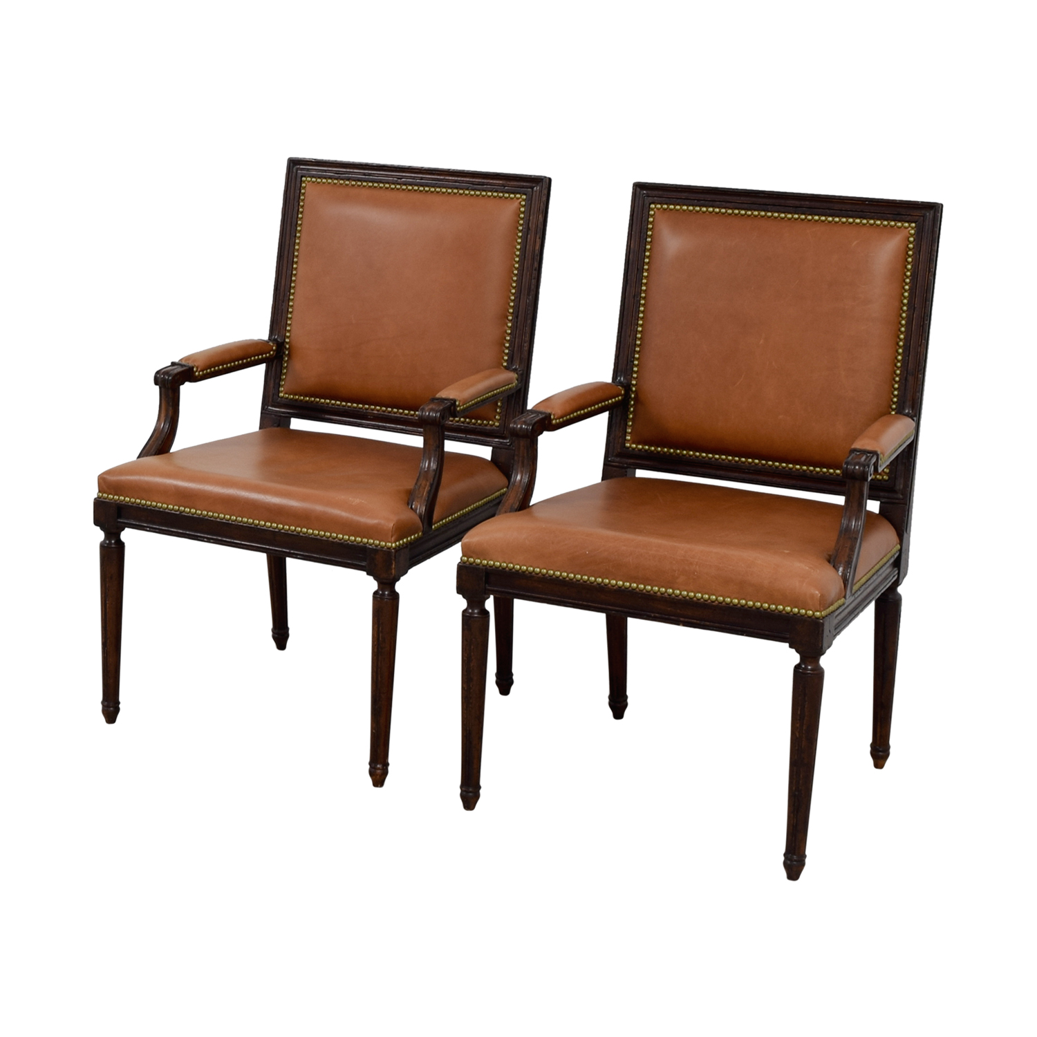 Henredon Henredon Brown Leather Nailhead Accent Chairs brown