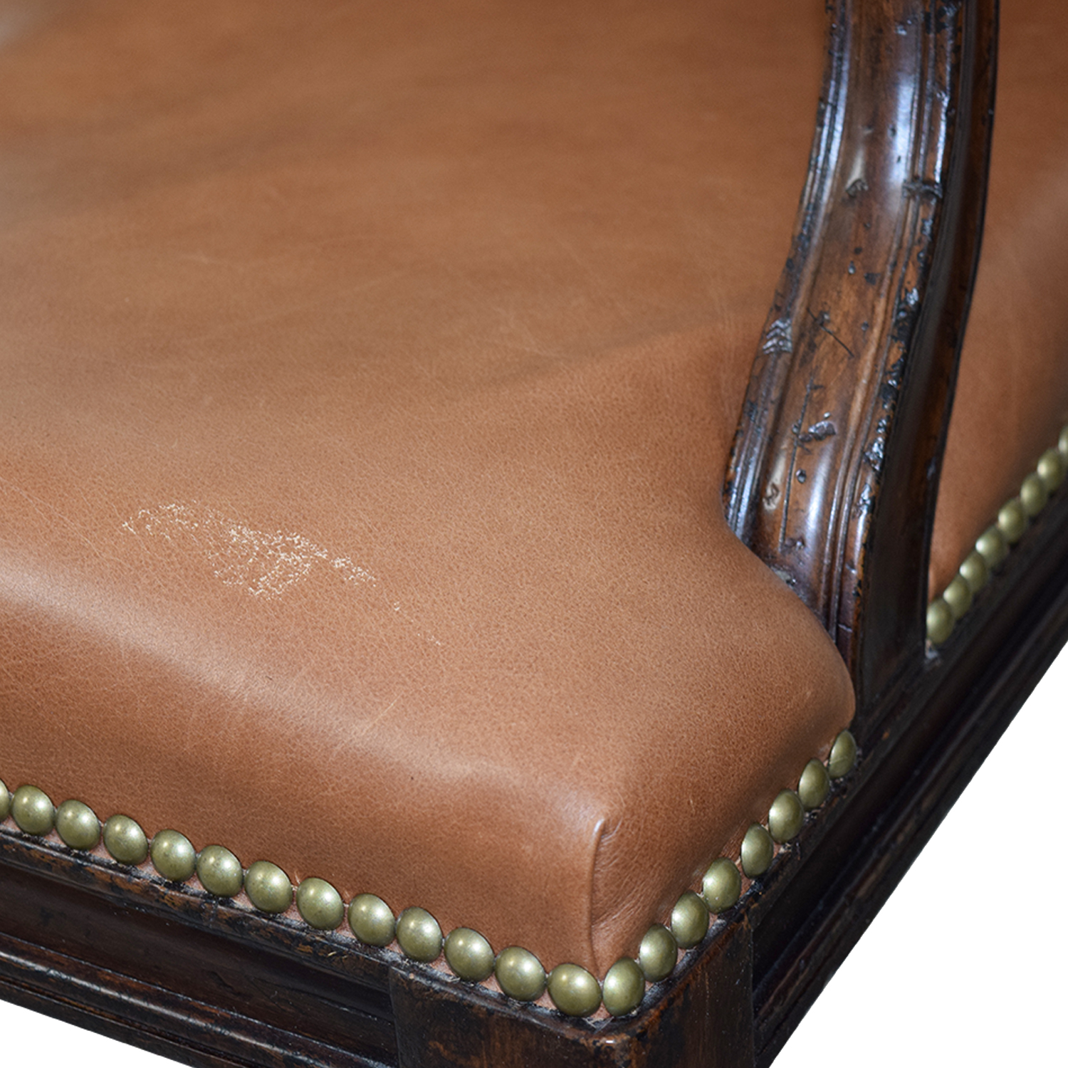 Henredon Henredon Brown Leather Nailhead Accent Chairs dimensions