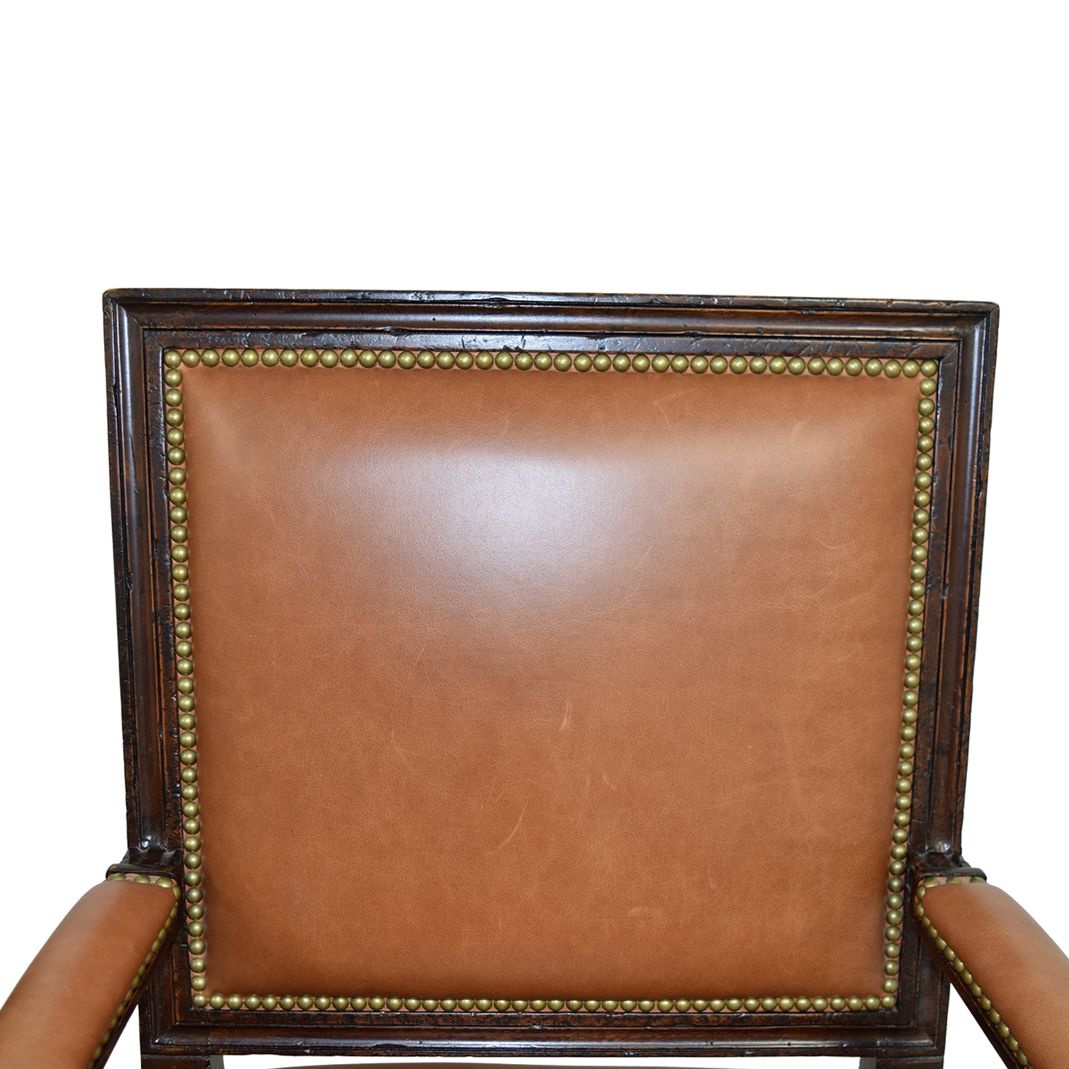 Henredon Henredon Brown Leather Nailhead Accent Chairs discount