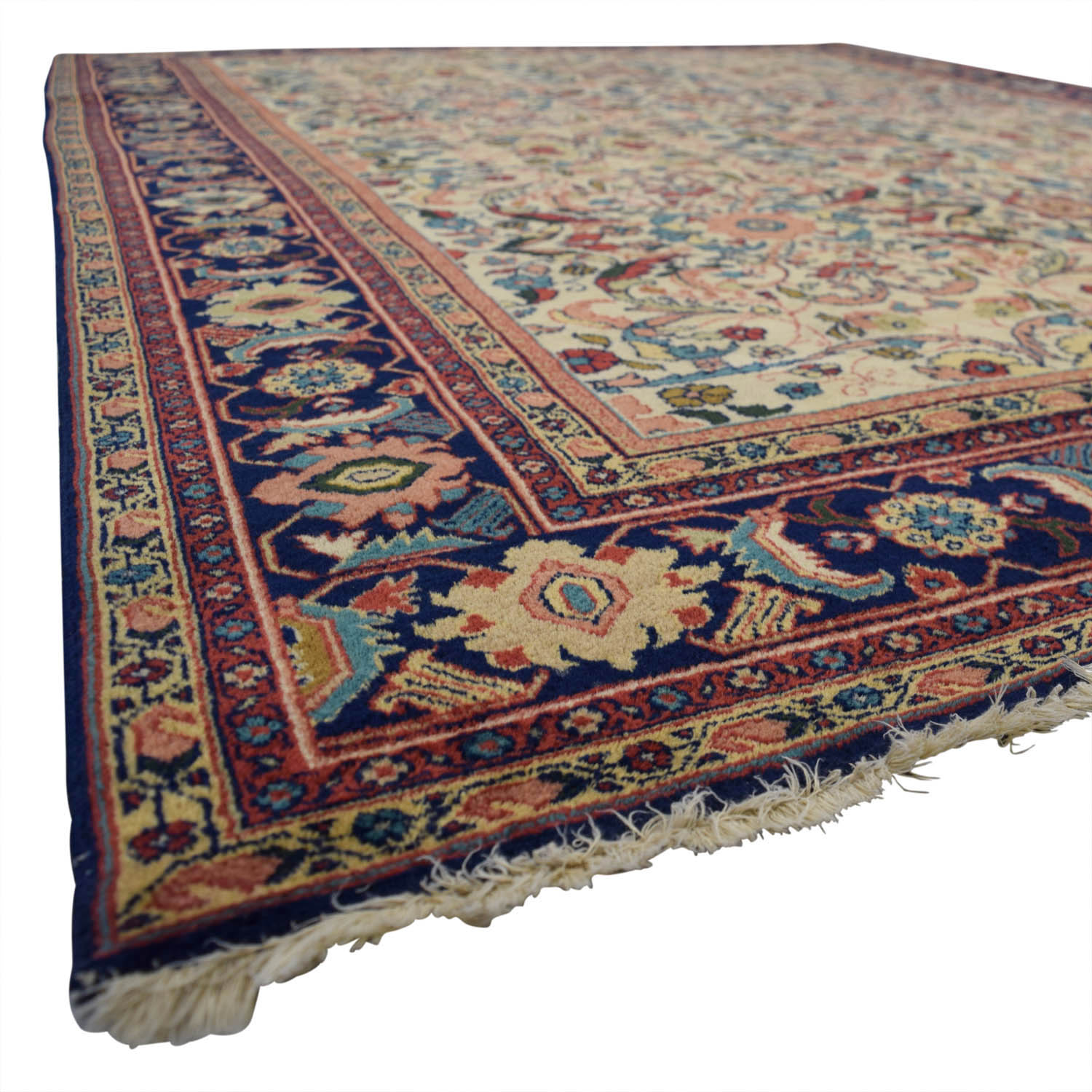Antique Multi-Colored Floral Wool Rug / Decor