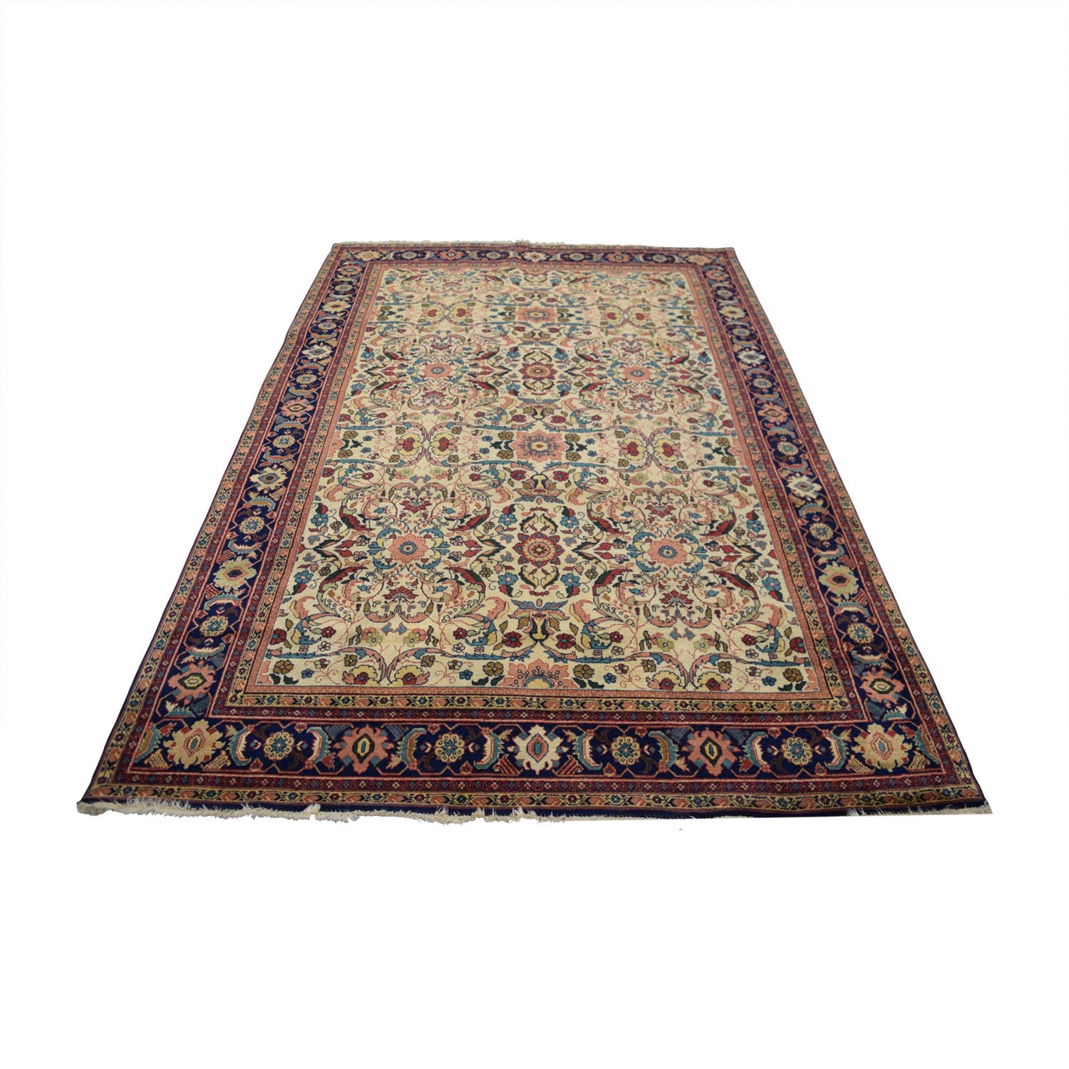 Antique Multi-Colored Floral Wool Rug coupon