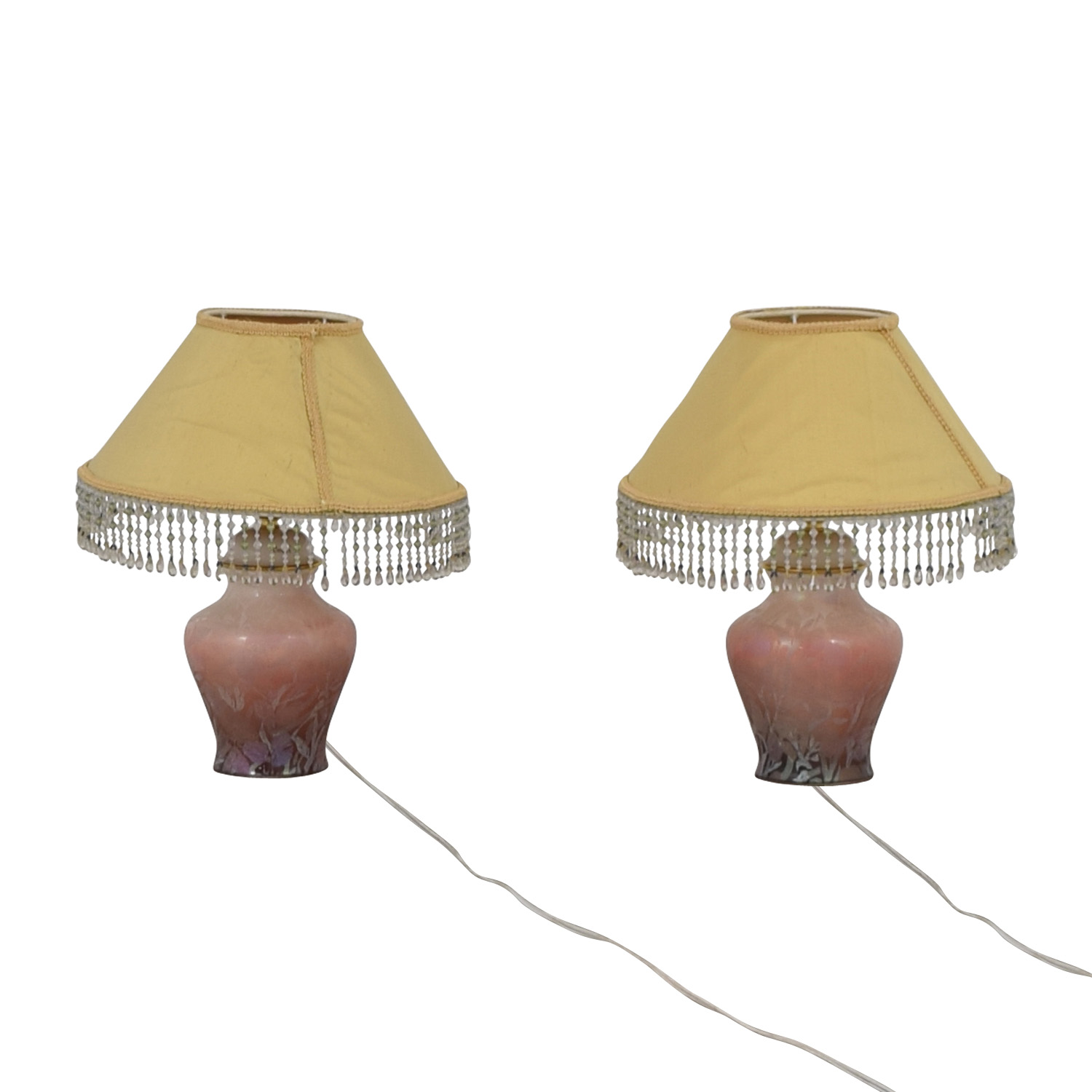 glass lamps lamp lighting old vintage yellow swag stained pin with