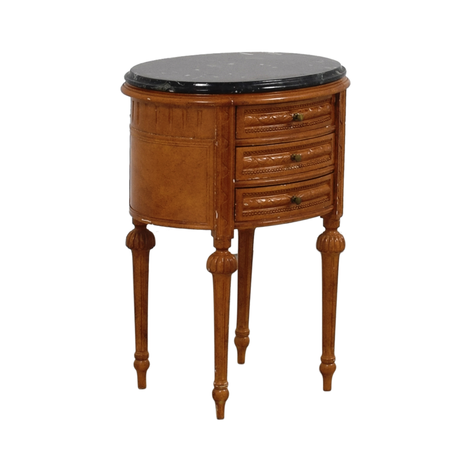 Antique Oval Marble Top Side Table End Tables
