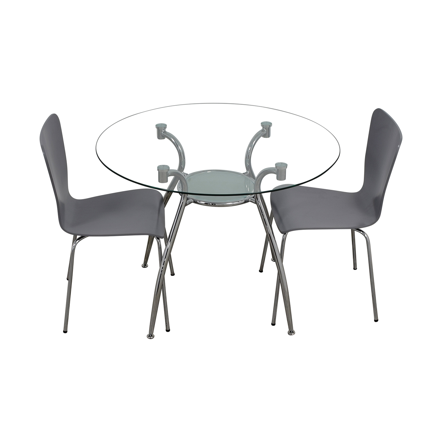 Glass Round Table Set with Chairs Sofas