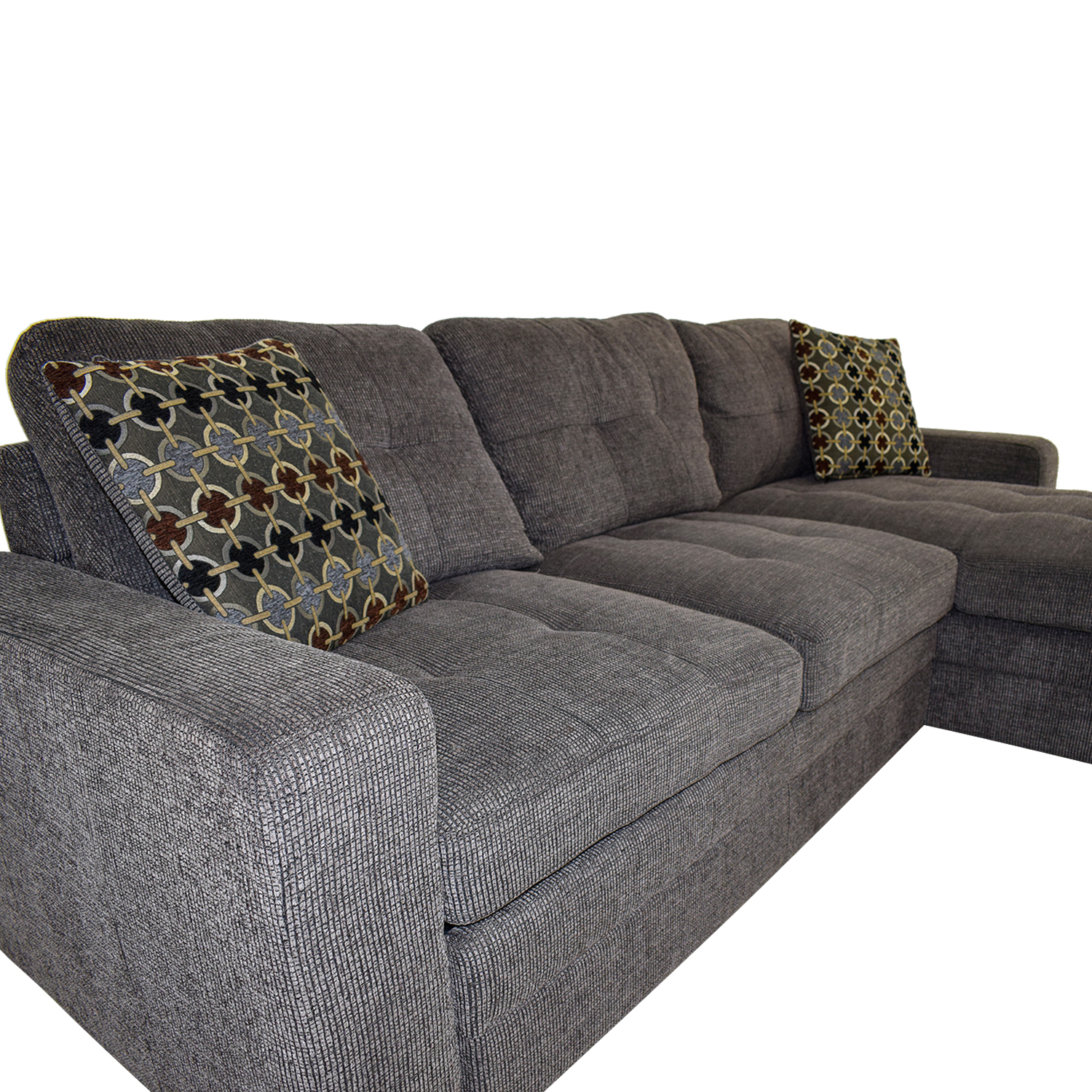 Amazing 45 Off Grey Tweed Twin To Full Sofabed Sectional With Storage Sofas Download Free Architecture Designs Scobabritishbridgeorg