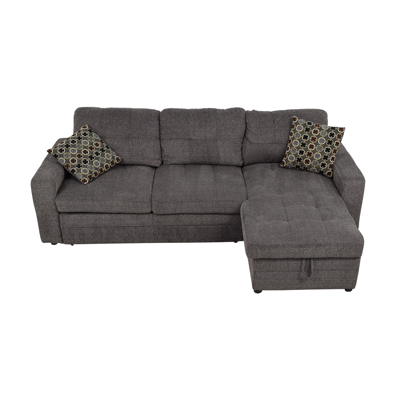 Grey Tweed Twin to Full Sofabed Sectional with Storage discount