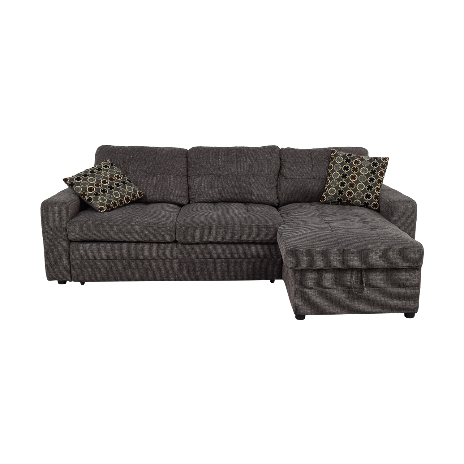 Grey Tweed Twin to Full Sofabed Sectional with Storage dimensions