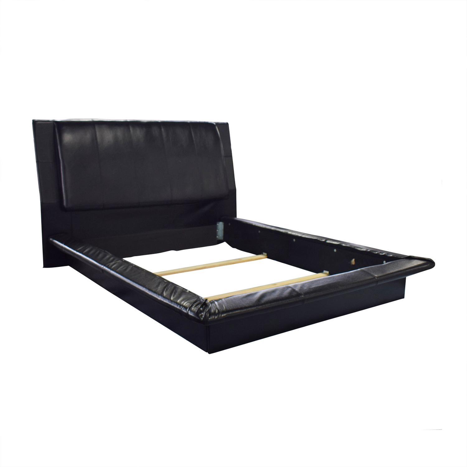 52% OFF - Black Leather Queen Bed Frame / Beds