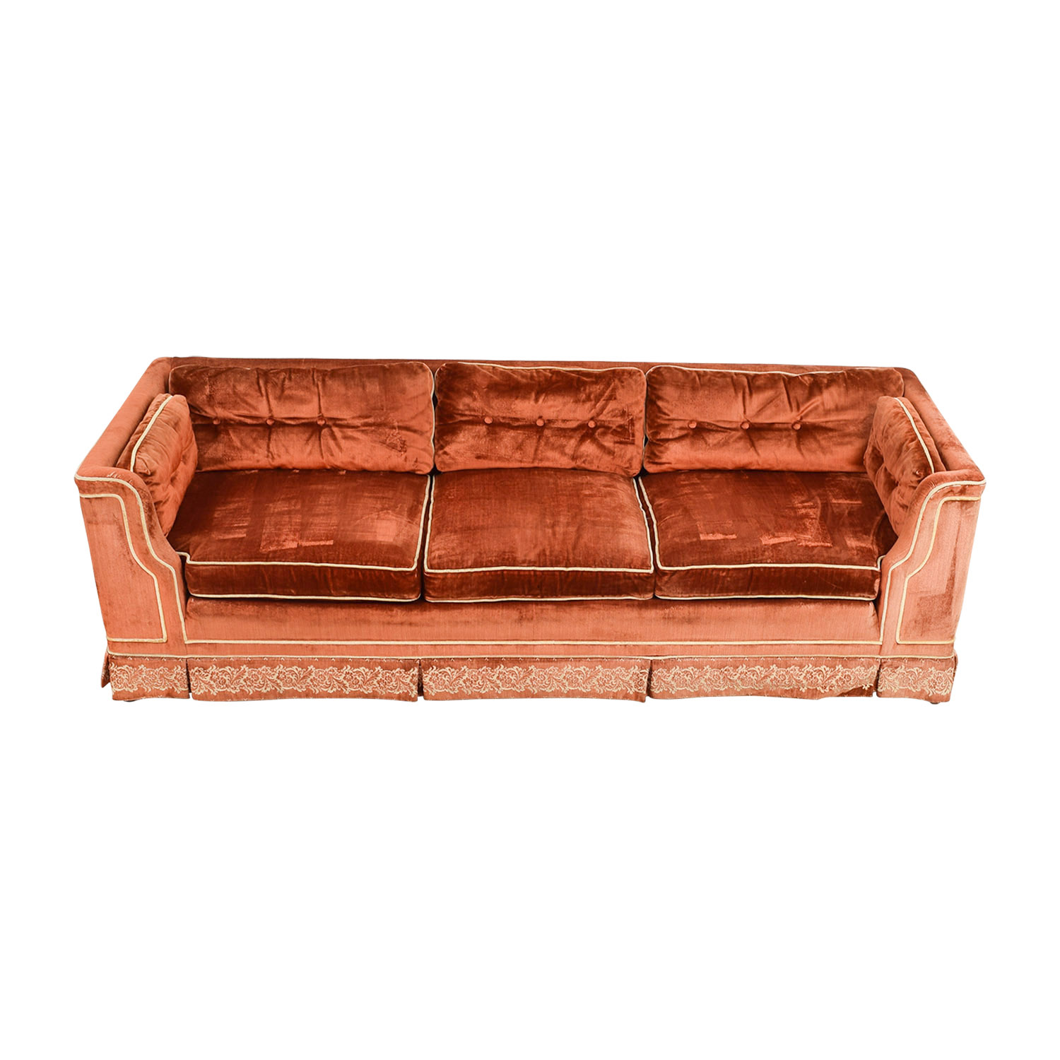 Orange Red Tufted Three-Cushion Sofa with Border Embroidery