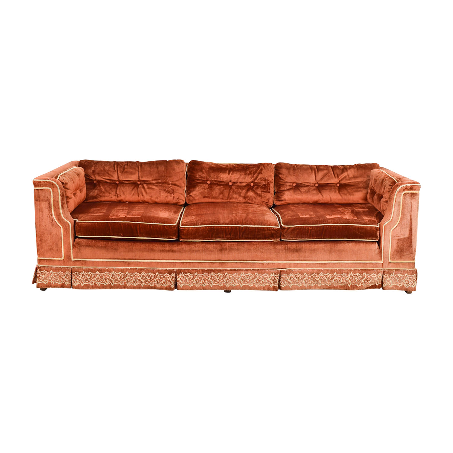 Orange Red Tufted Three-Cushion Sofa with Border Embroidery on sale