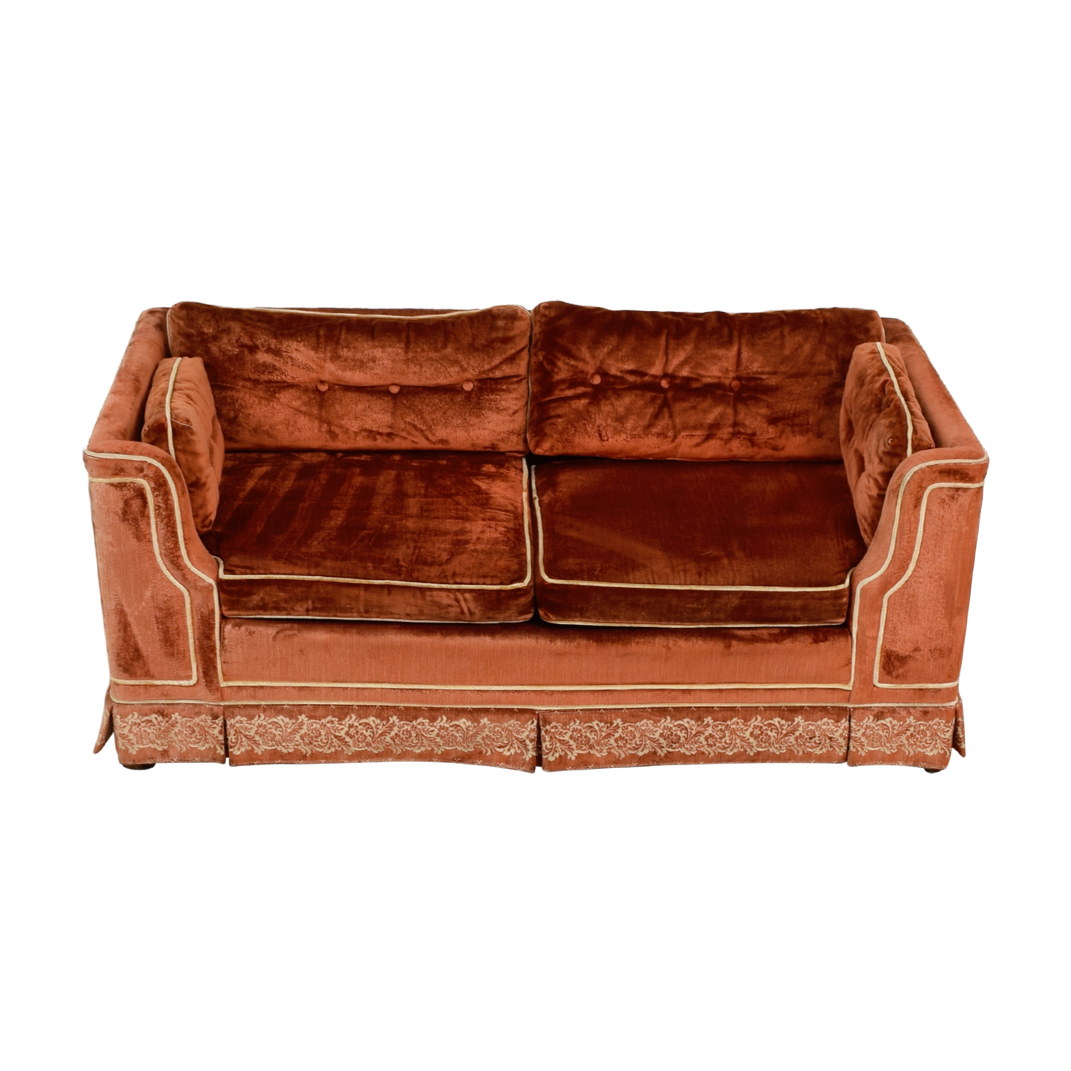 Orange with Beige Embroidered Trim Loveseat / Sofas