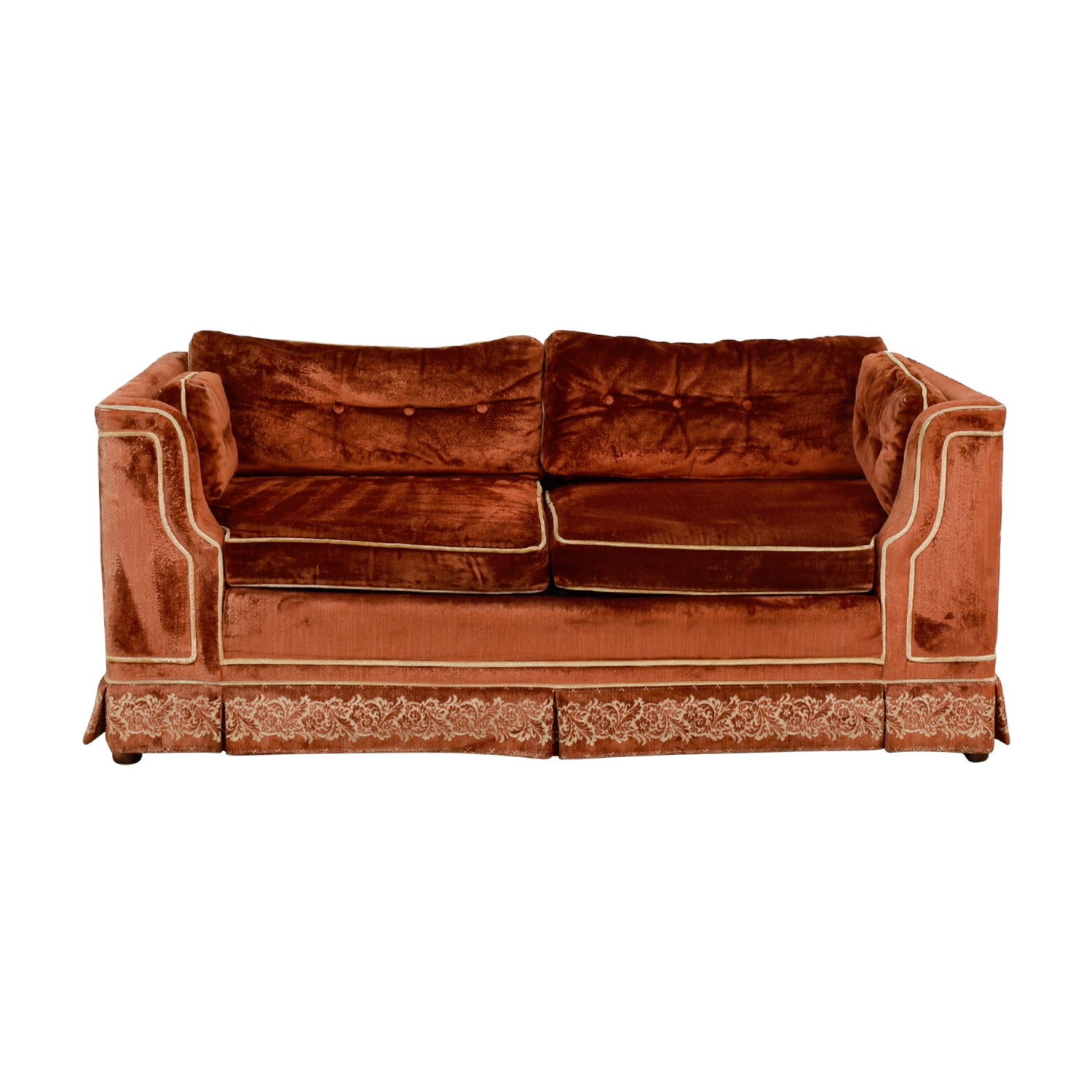 Orange with Beige Embroidered Trim Loveseat on sale
