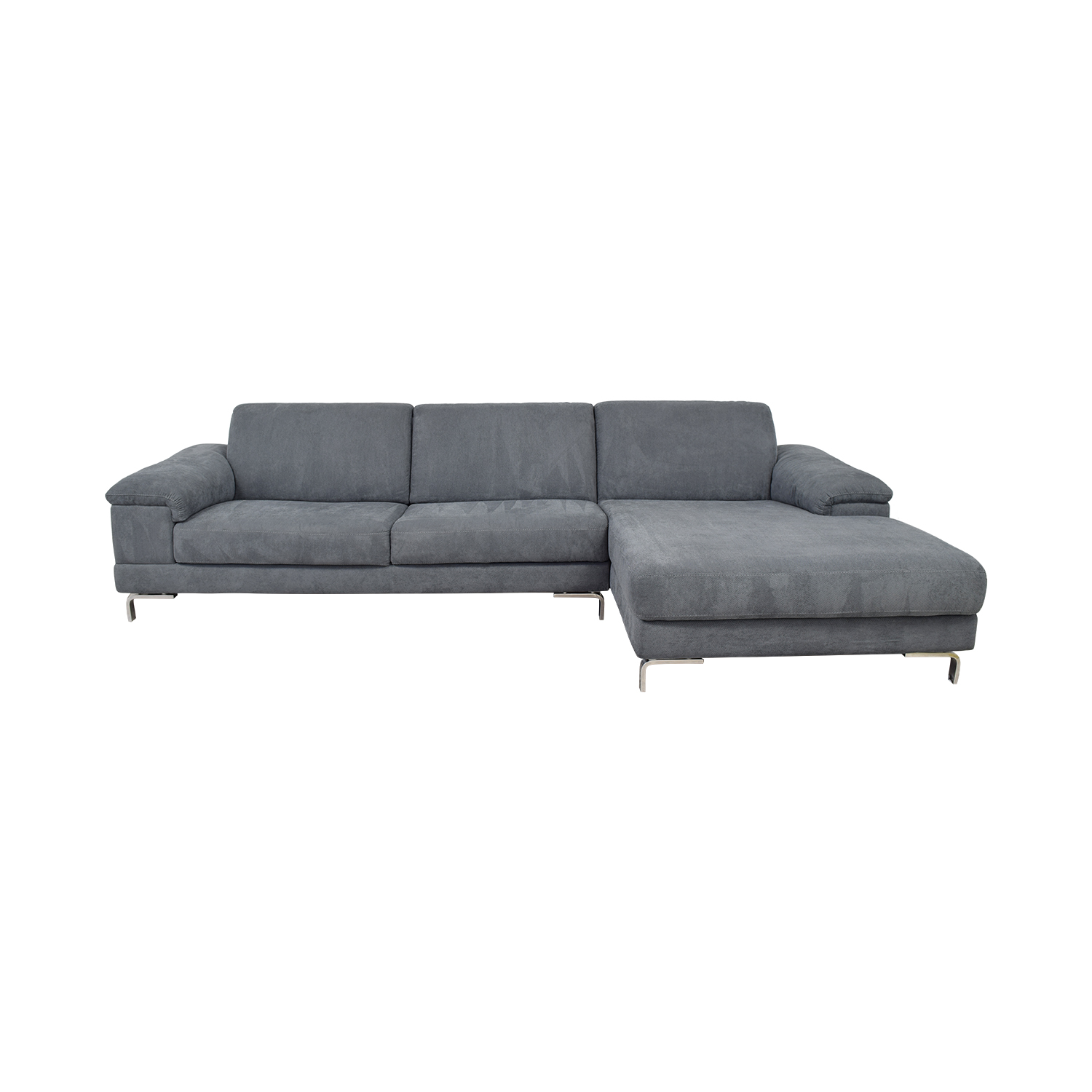 62% OFF   Bloomingdaleu0027s Bloomingdaleu0027s Grey Italian Fabric Chaise  Sectional / Sofas
