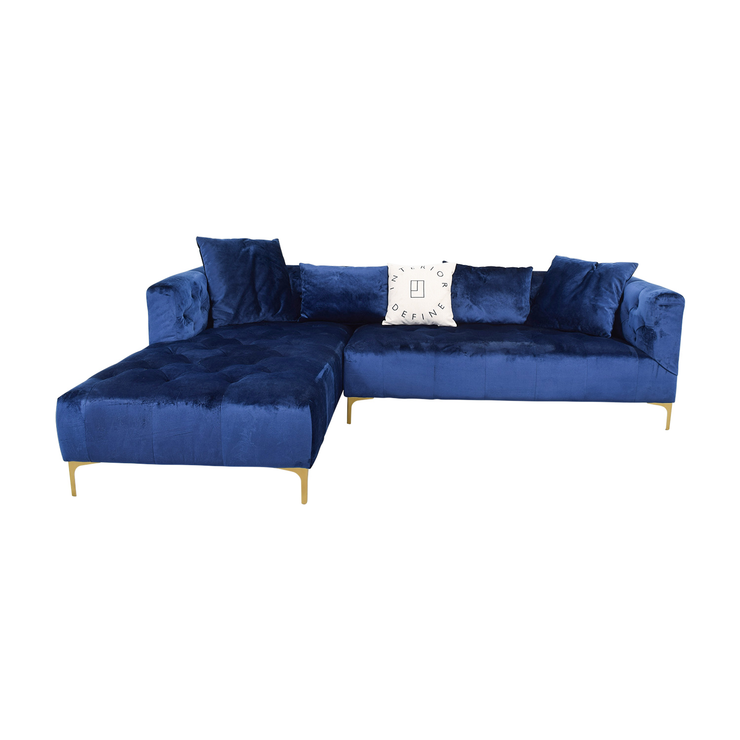 Ms. Chesterfield Blue Tufted Left Chaise Sectional dimensions