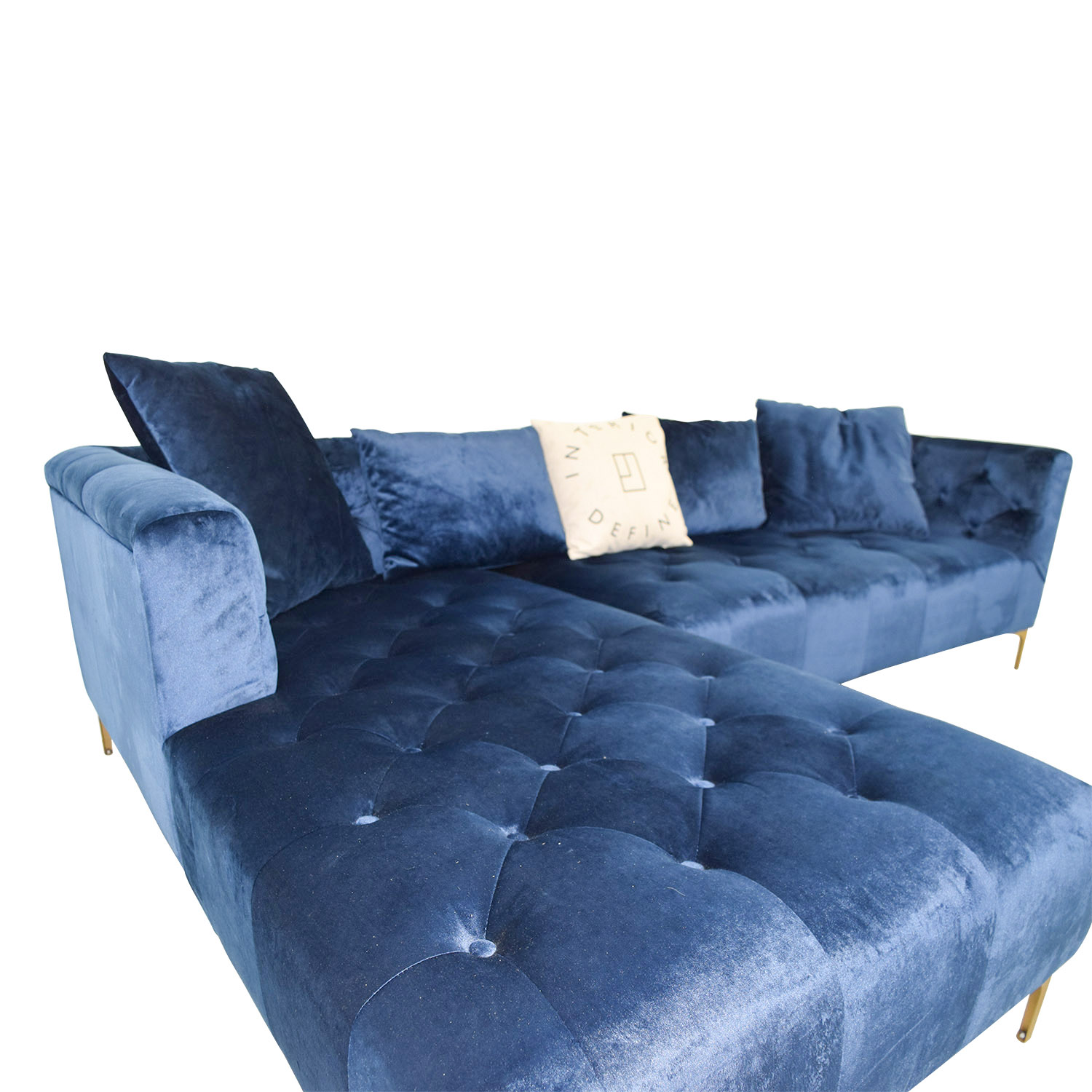 Ms Chesterfield Blue Tufted Left Chaise Sectional Sofas