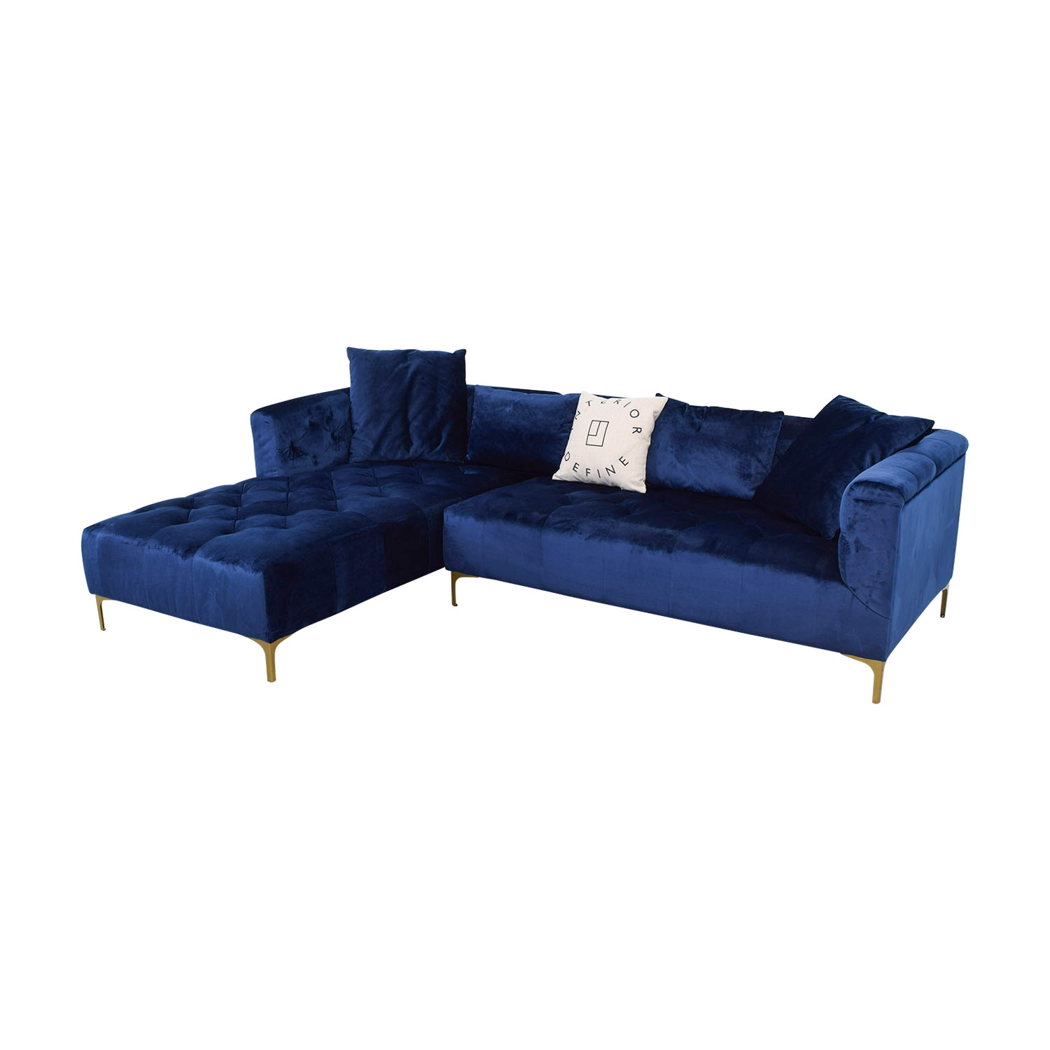 Sectional Couch Hattiesburg Ms: Ms. Chesterfield Blue Tufted Left Chaise
