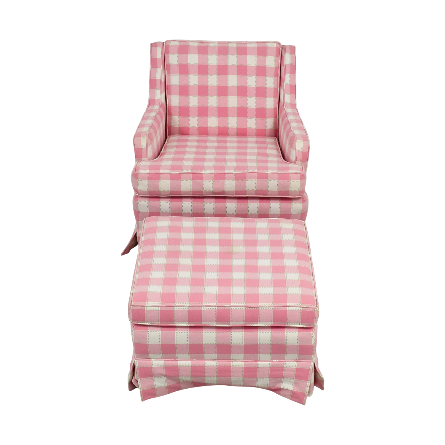 shop Pink and White Plaid Chair and Ottoman  Sofas