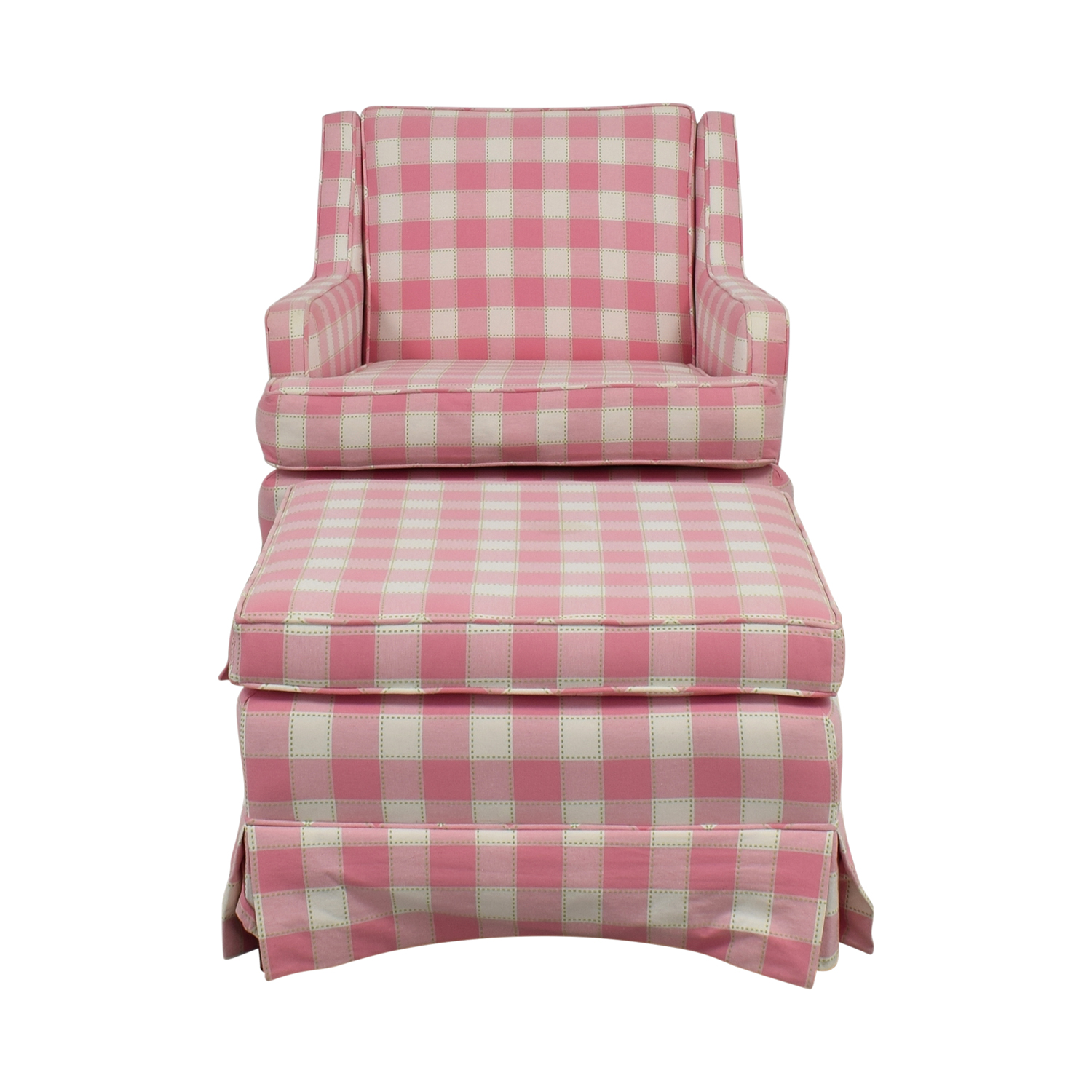 Pink and White Plaid Chair and Ottoman
