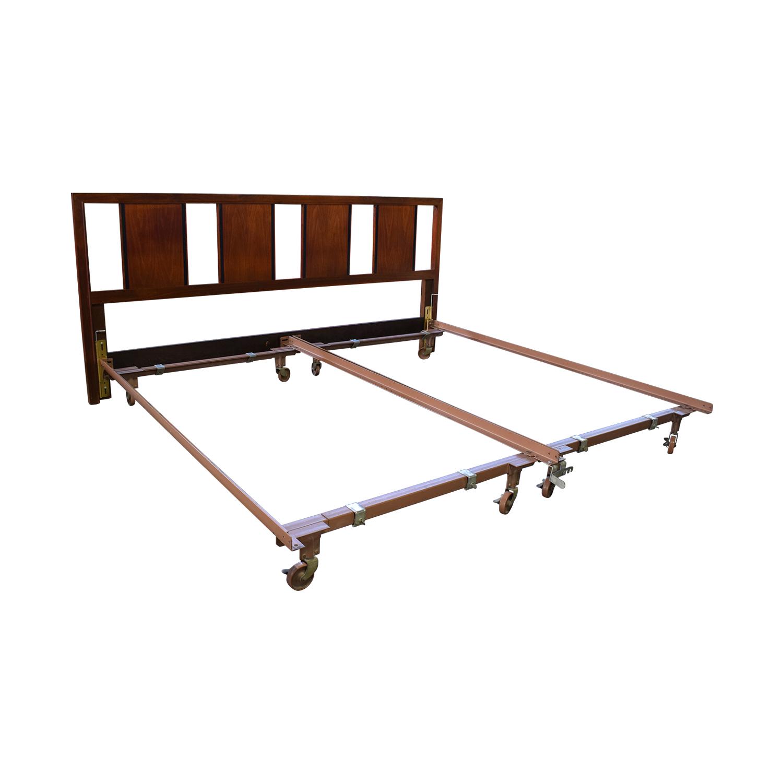 79 off king wood headboard with metal frame beds. Black Bedroom Furniture Sets. Home Design Ideas
