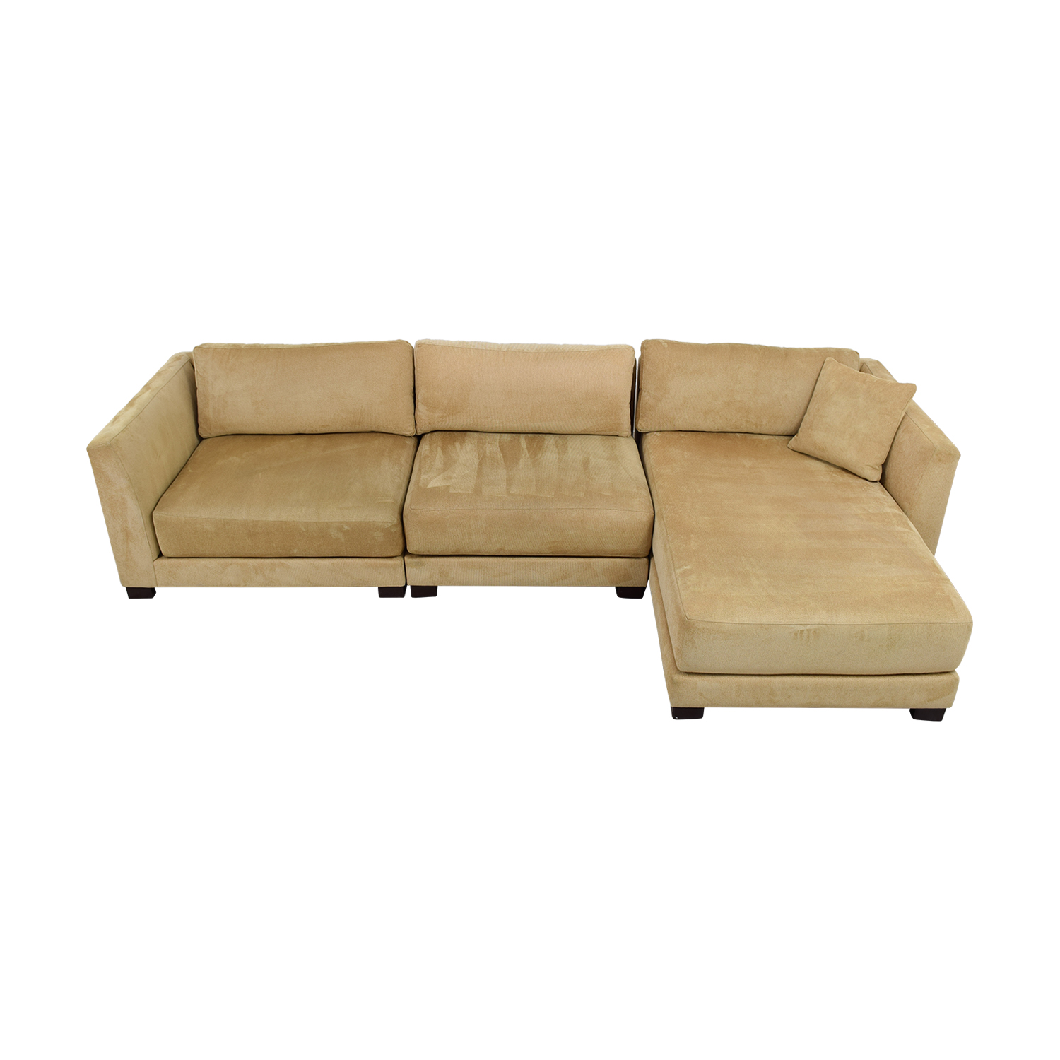 shop Tan Three-Piece Chaise Sectional Sofas