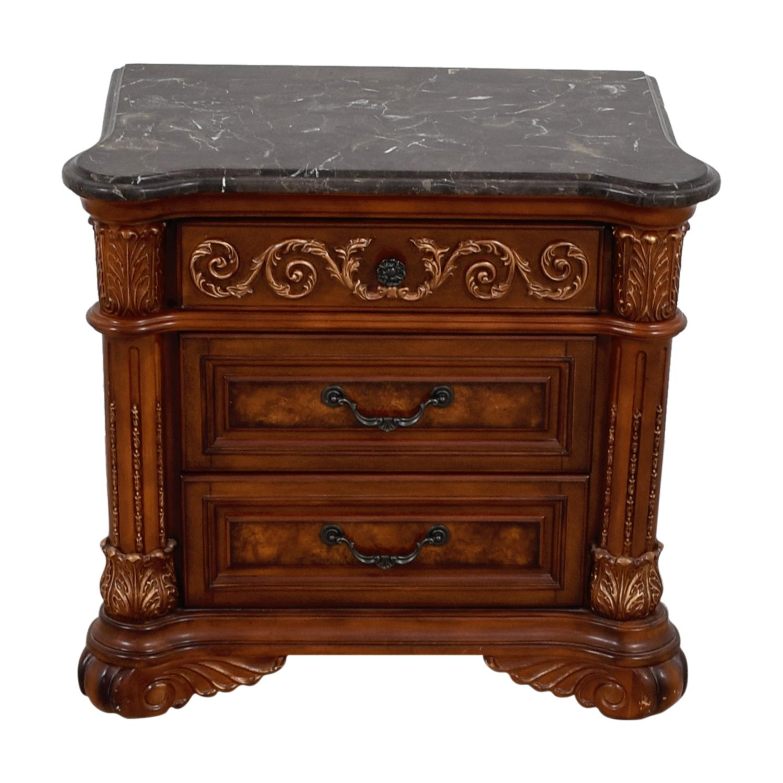 Huffman Koos Buckingham Wood with Marble Top Nightstand / End Tables