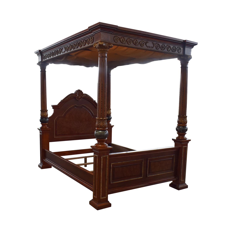 Huffman Koos Huffman Koos Buckingham Carved Wood Canopy Queen Bed Frame used