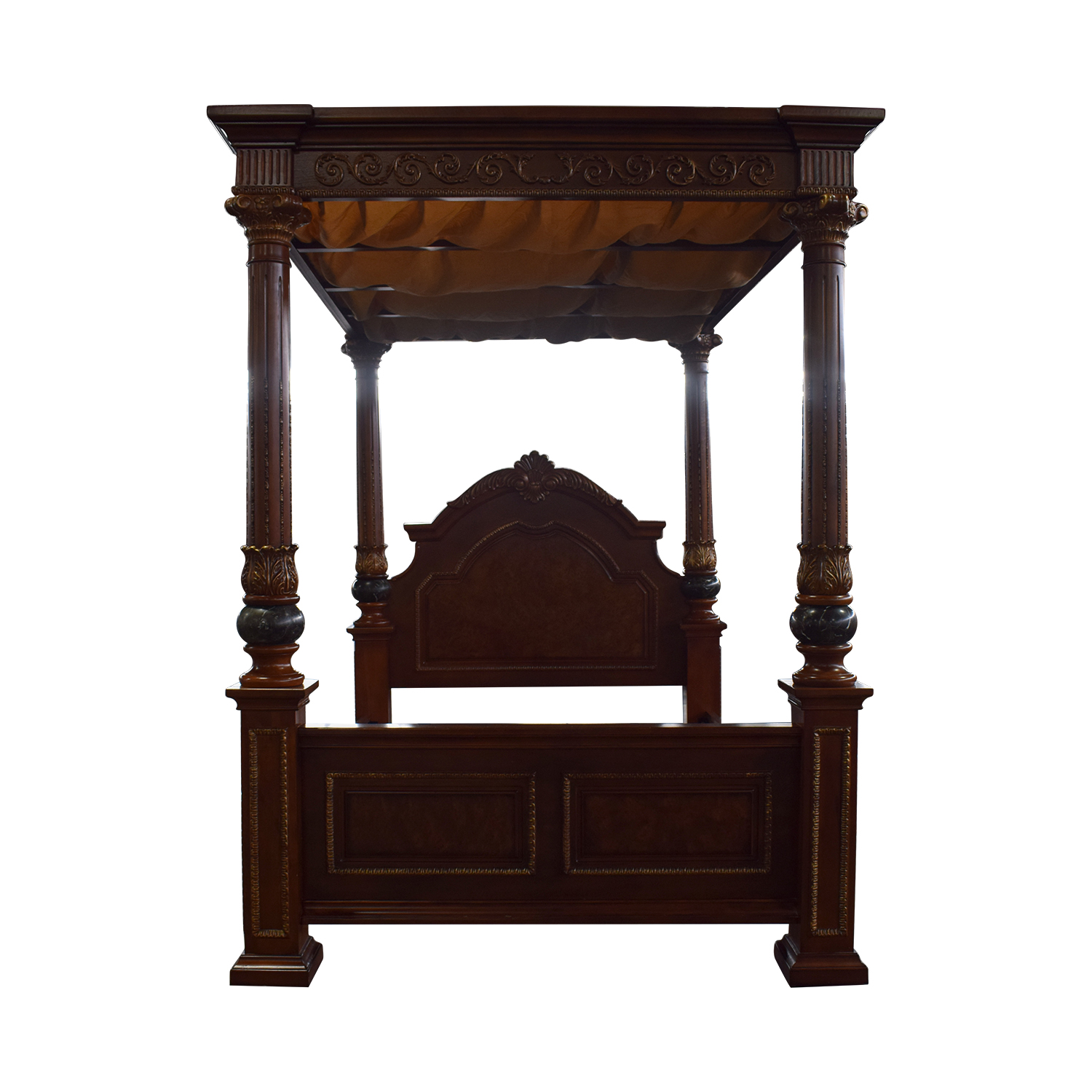 Huffman Koos Buckingham Carved Wood Canopy Queen Bed Frame