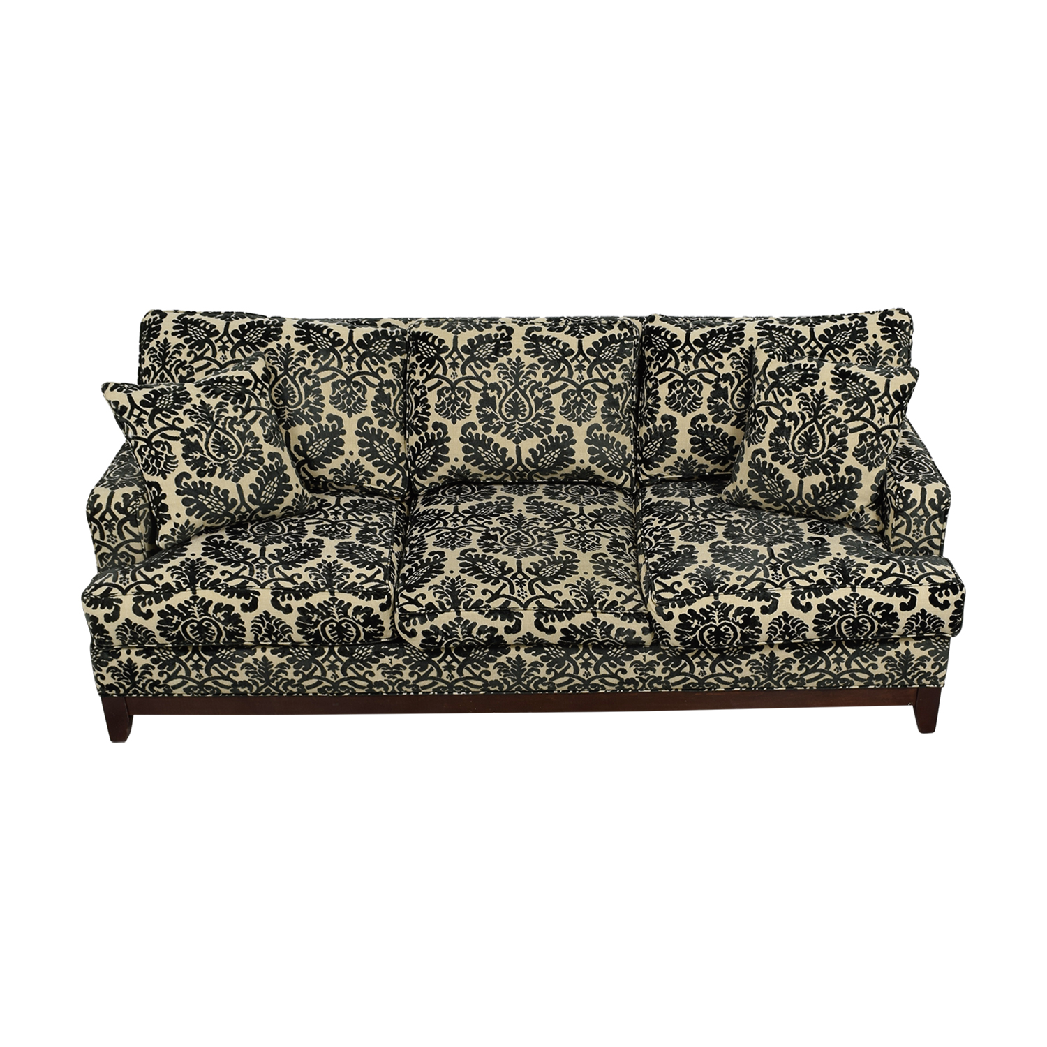 shop Ethan Allen Ethan Allen Arcata Black and Beige Three-Cushion Sofa online