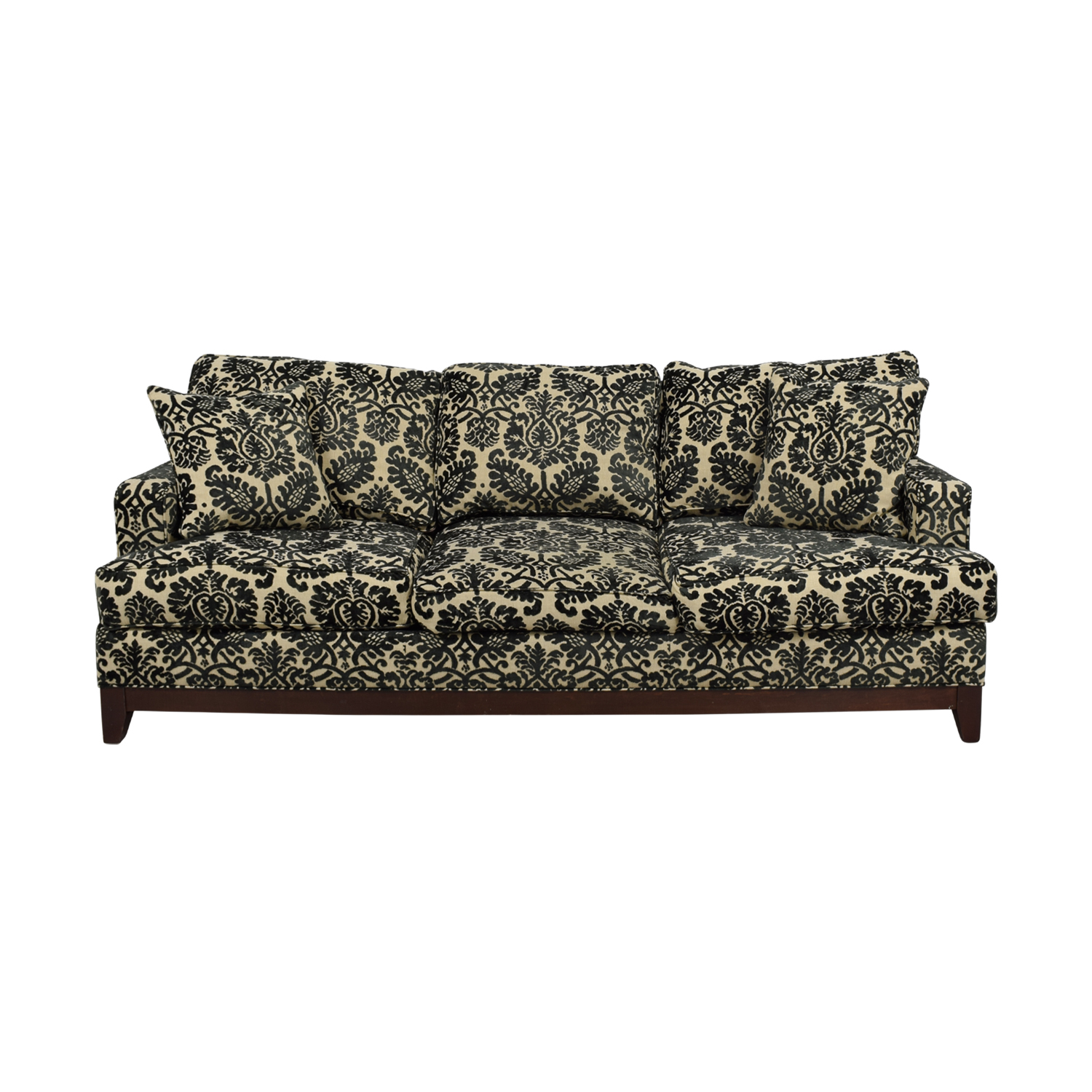 Ethan Allen Arcata Black and Beige Three-Cushion Sofa / Classic Sofas