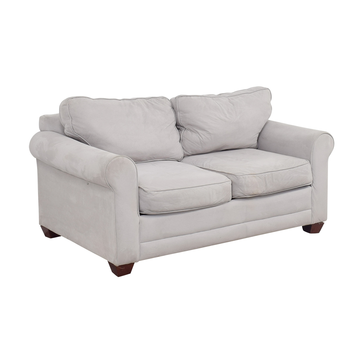 Grey Microfiber Curved Arm Loveseat / Sofas