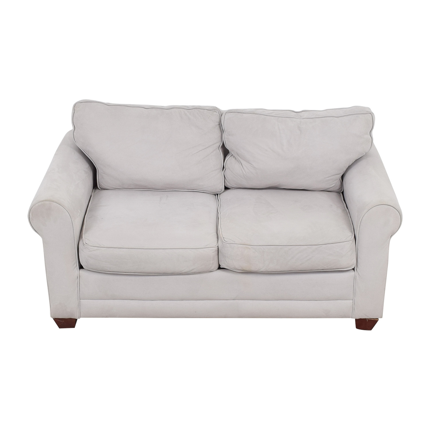 Grey Microfiber Curved Arm Loveseat sale