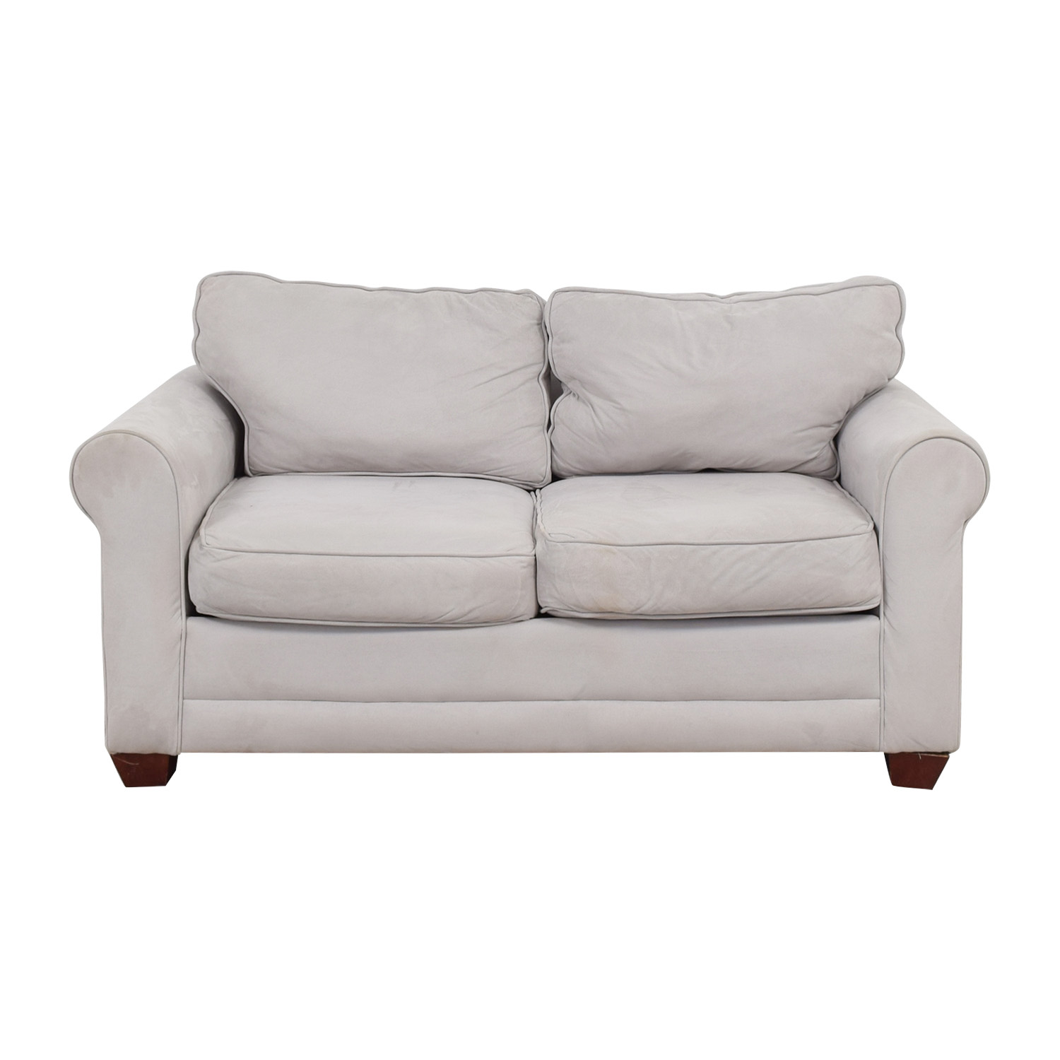 Grey Microfiber Curved Arm Loveseat on sale
