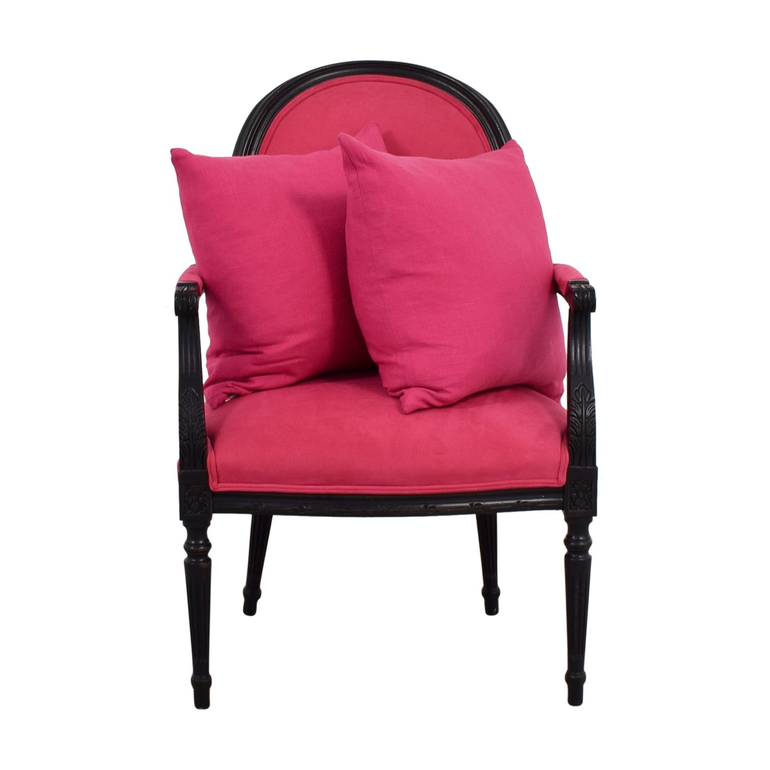 Ethan Allen Ethan Allen Fuchsia Upholstered Black Arm Chair with Pillows Sofas