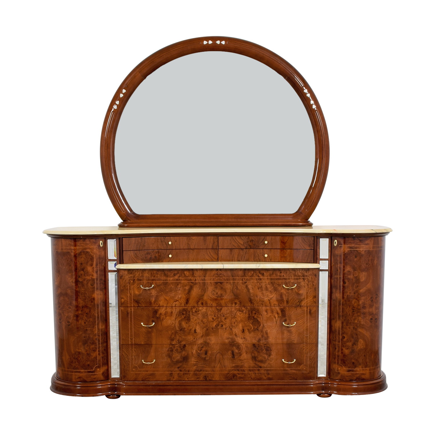 Art Deco Dresser with Marble Top and Mirror Storage