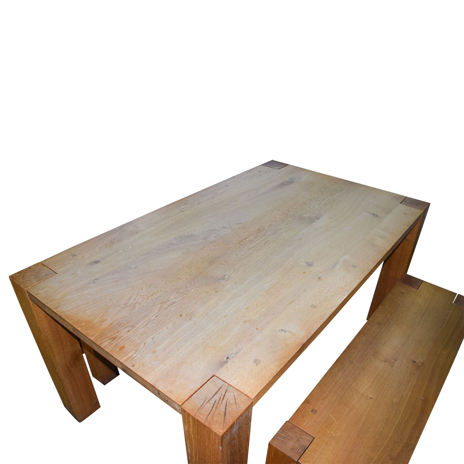 Crate Barrel Sur Natural Dining Table With Benches
