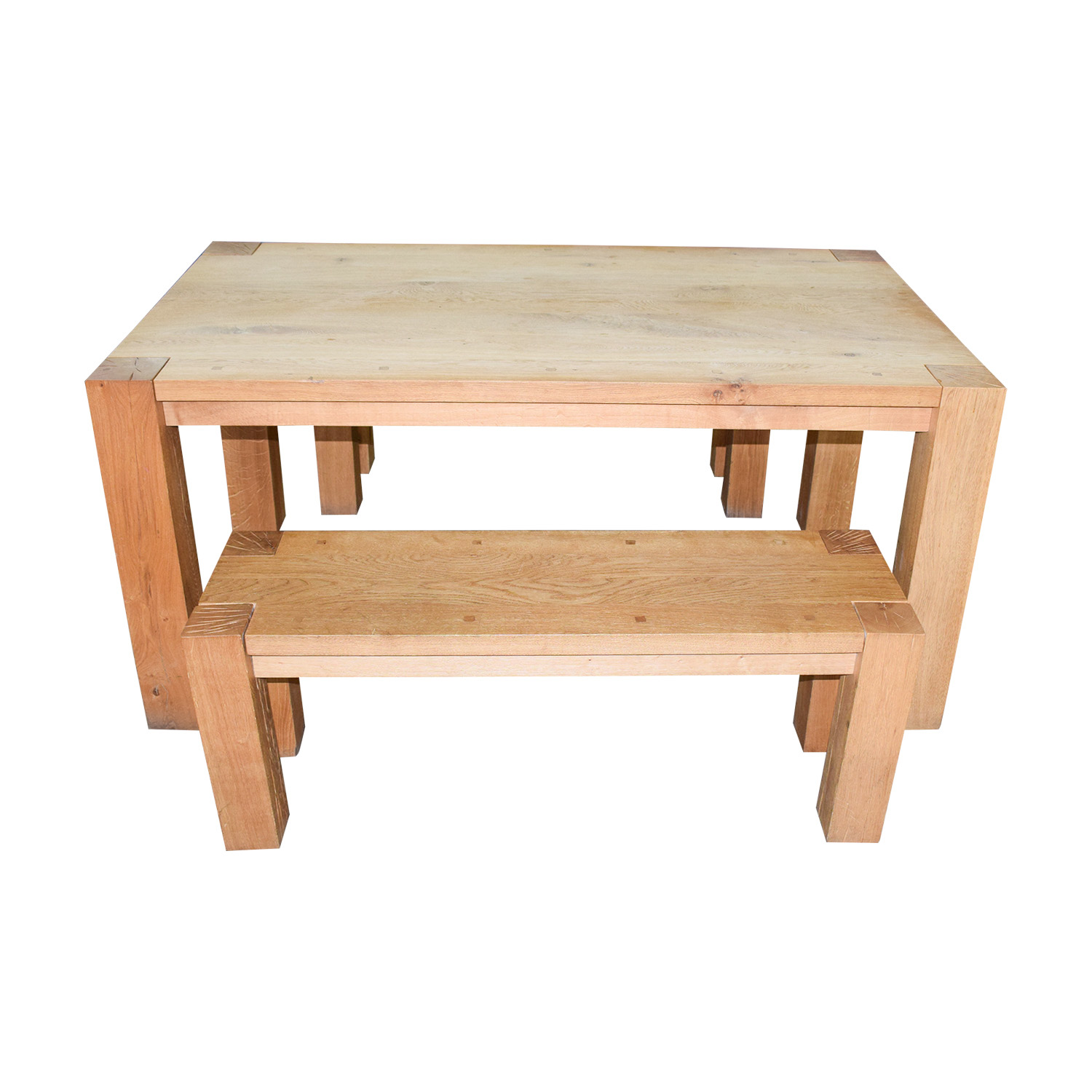 shop Crate & Barrel Big Sur Natural Dining Table with Benches Crate & Barrel Tables
