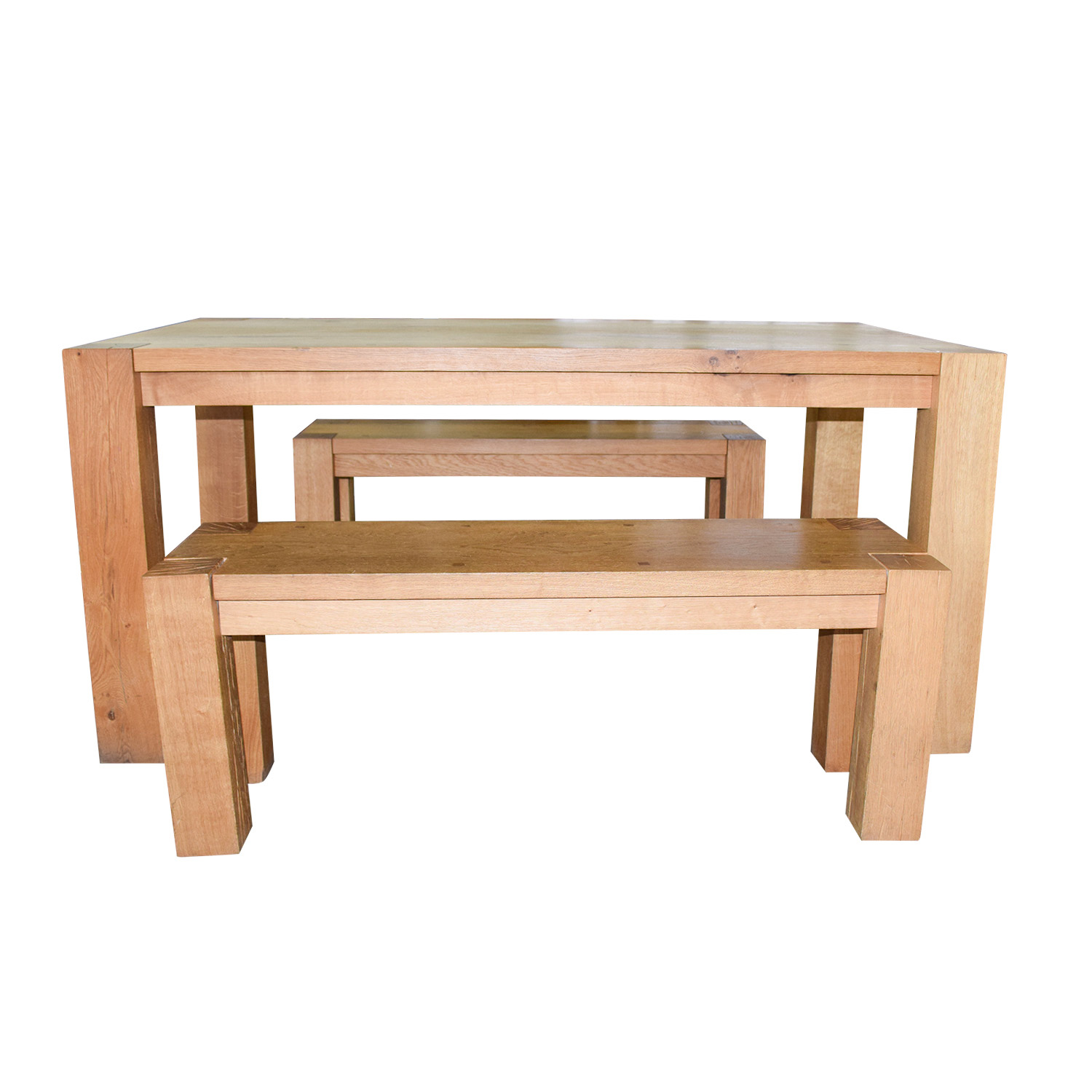 Crate & Barrel Crate & Barrel Big Sur Natural Dining Table with Benches discount