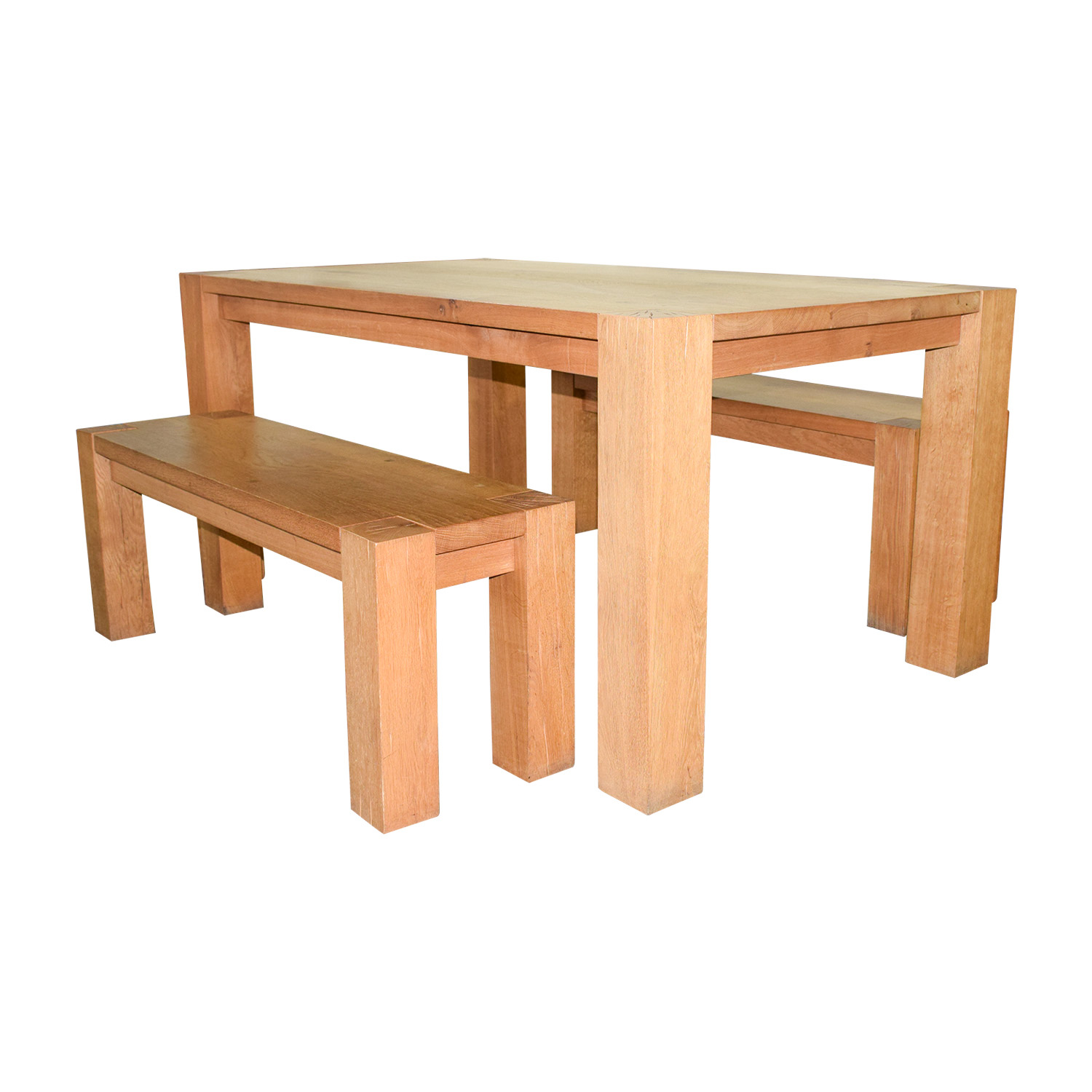 Crate Barrel Big Sur Natural Dining Table With Benches